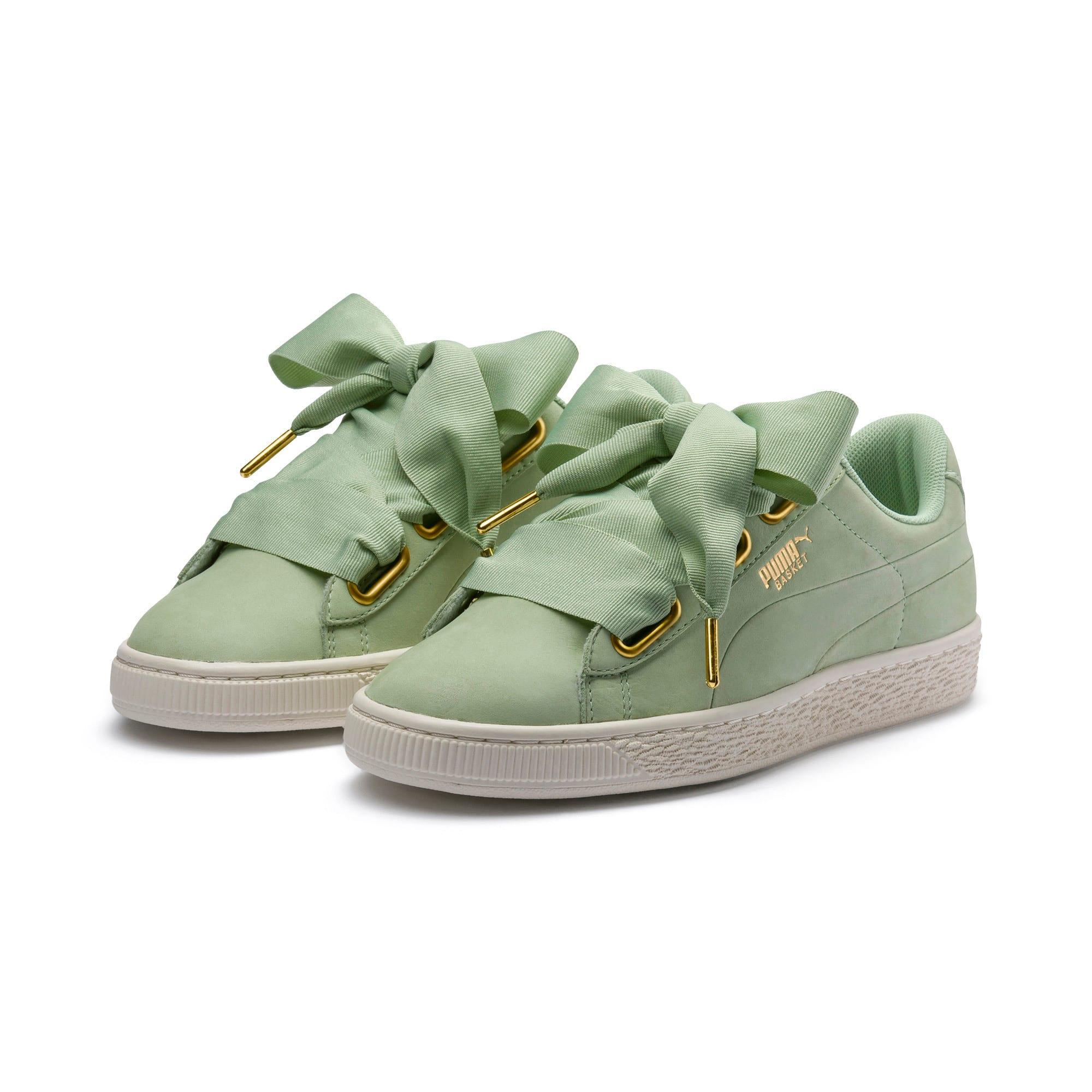 Thumbnail 2 of Basket Heart Soft Women's Sneakers, Smoke Green-Marshmallow, medium