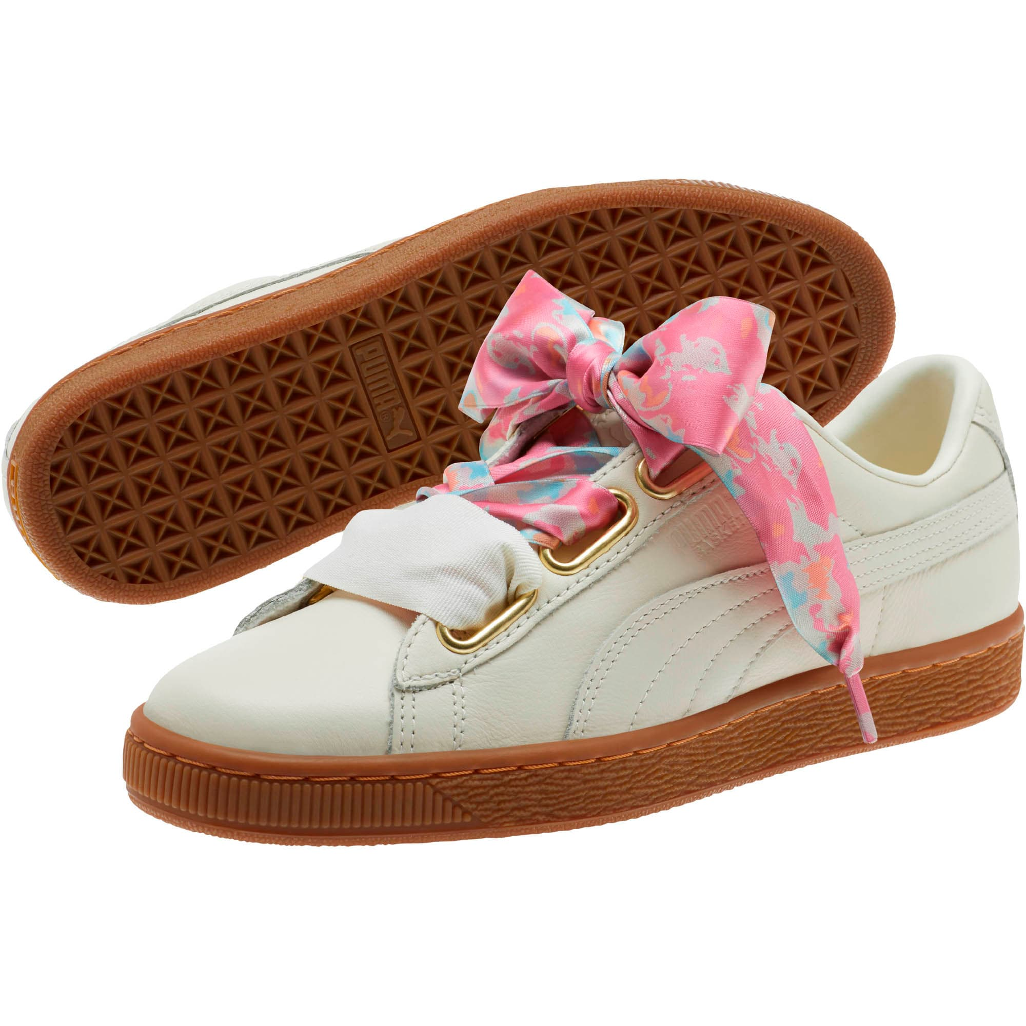 Thumbnail 2 of Basket Heart Wonderland Women's Sneakers, Marshmallow-Puma Team Gold, medium