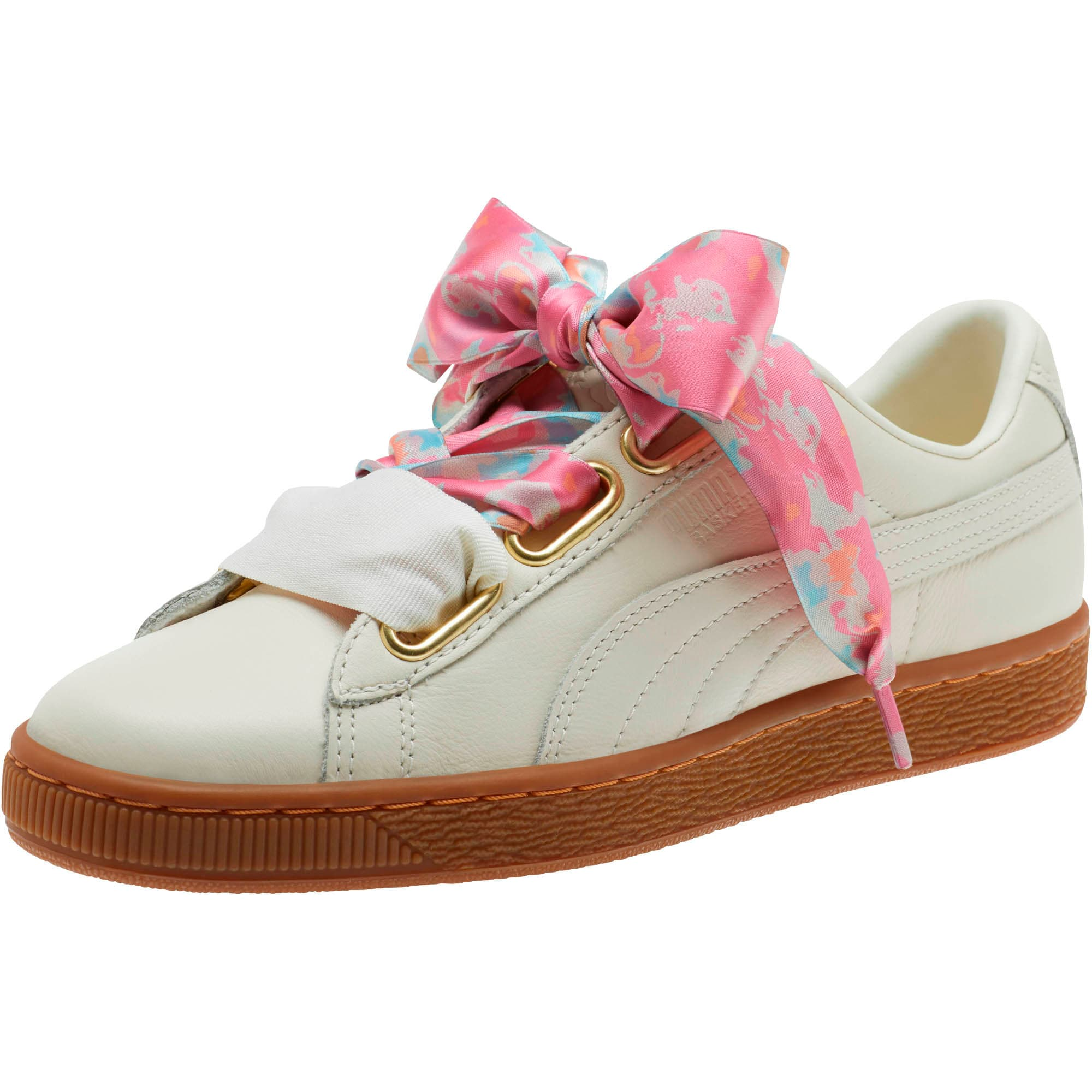 Thumbnail 1 of Basket Heart Wonderland Women's Sneakers, Marshmallow-Puma Team Gold, medium