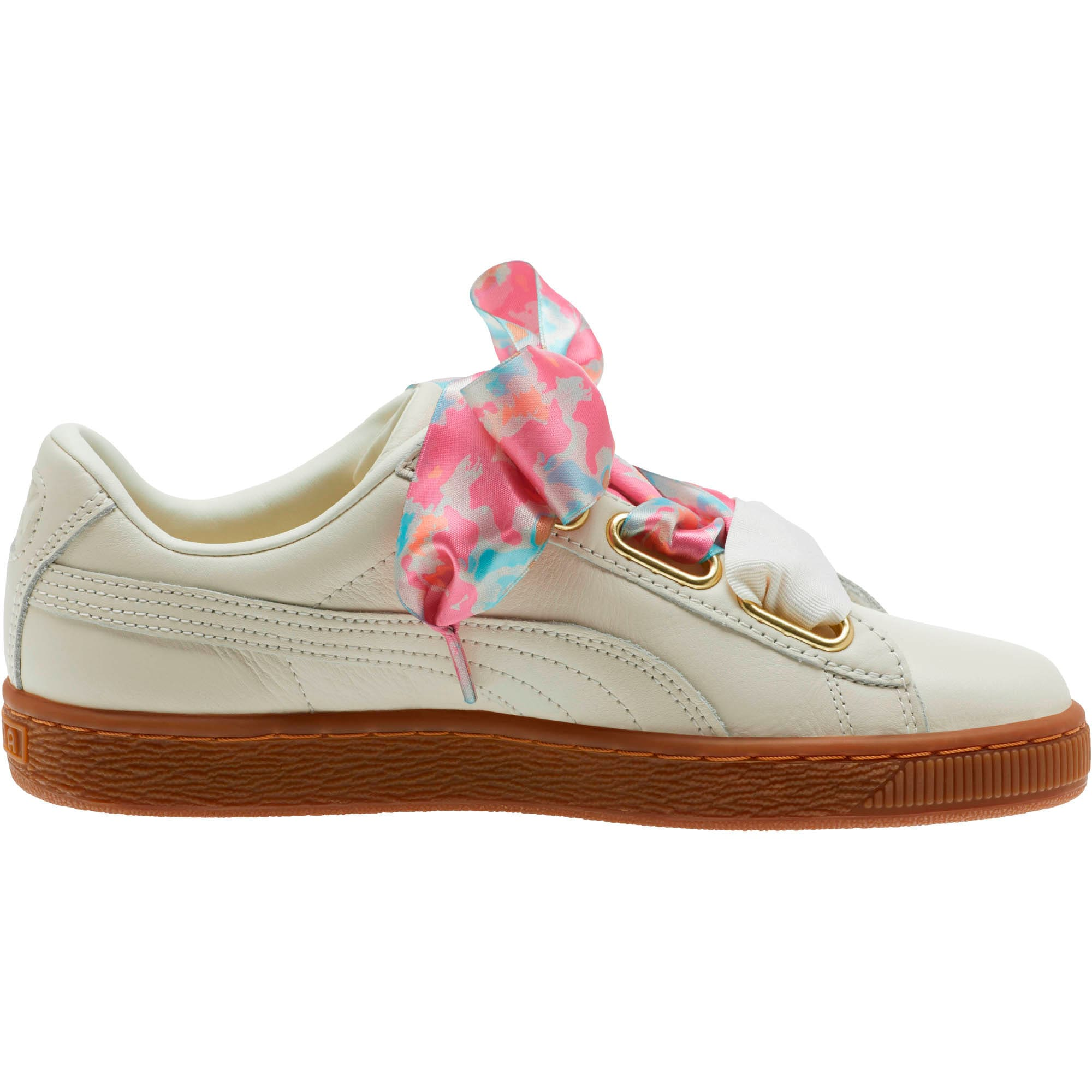 Thumbnail 4 of Basket Heart Wonderland Women's Sneakers, Marshmallow-Puma Team Gold, medium
