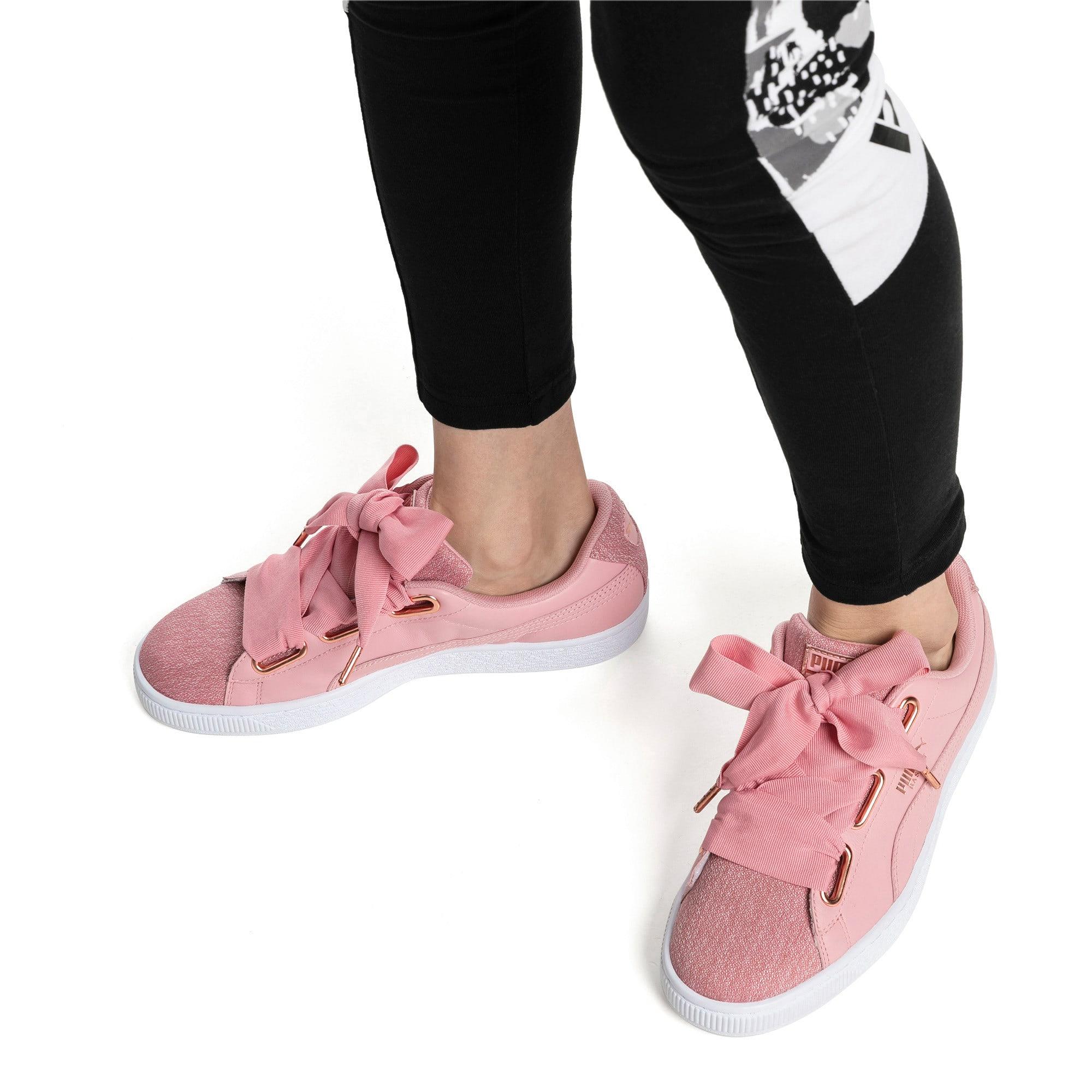 Thumbnail 7 of Basket Heart Woven Rose Women's Sneakers, Bridal Rose-Puma White, medium