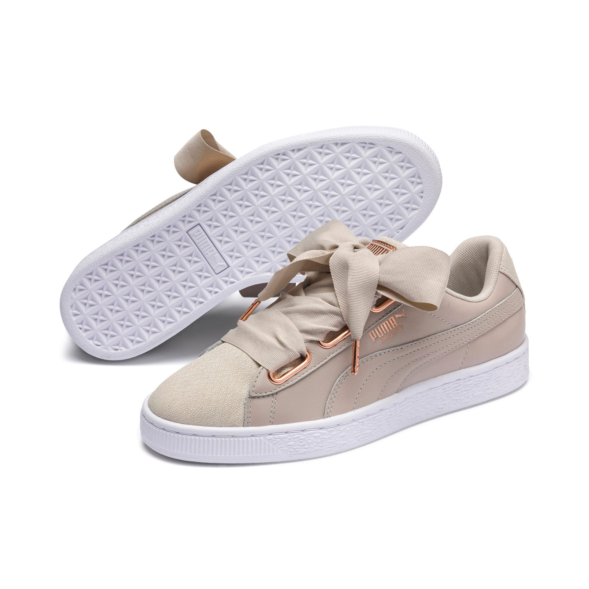 Thumbnail 2 of Basket Heart Woven Rose Women's Sneakers, Silver Gray-Puma White, medium