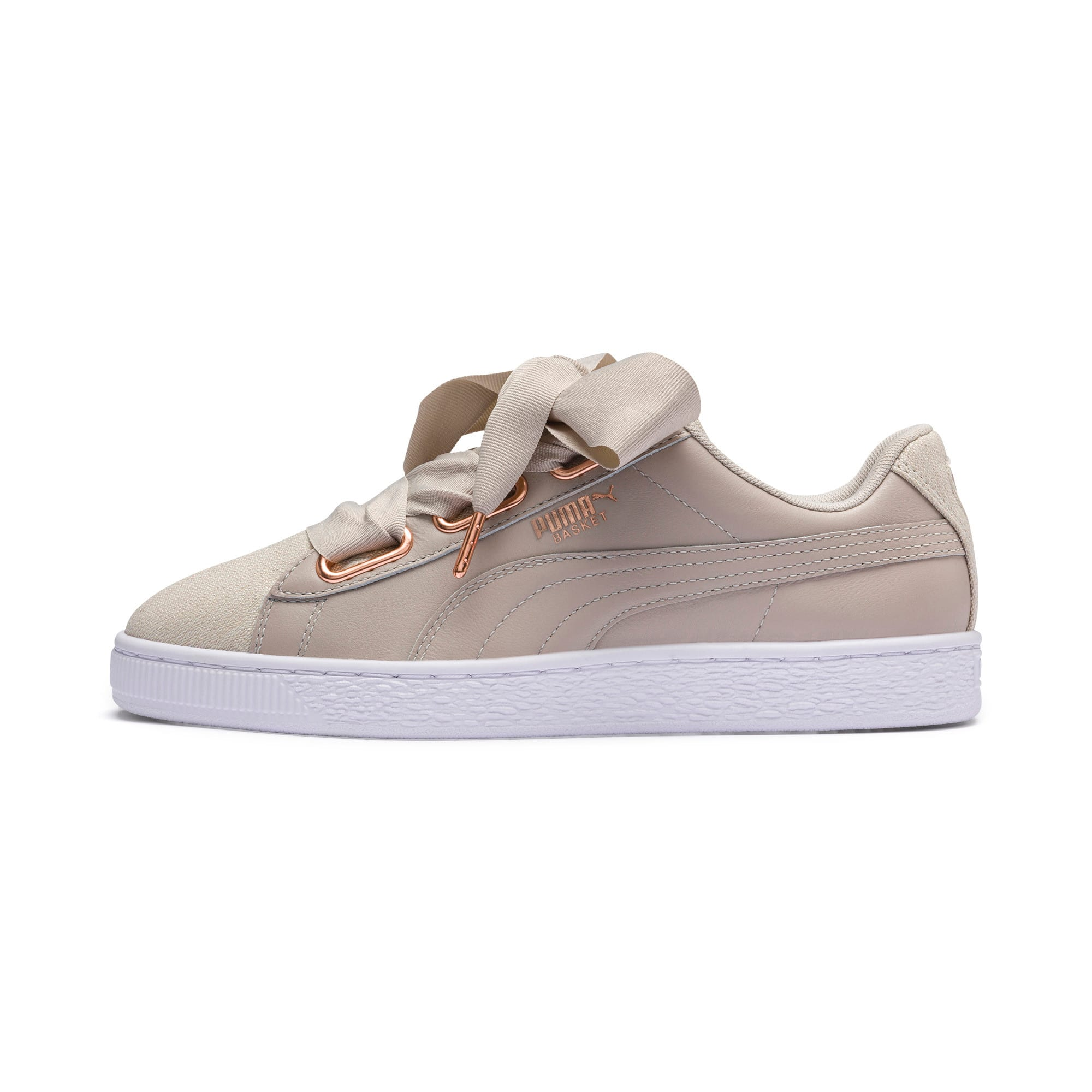 Thumbnail 1 of Basket Heart Woven Rose Women's Sneakers, Silver Gray-Puma White, medium
