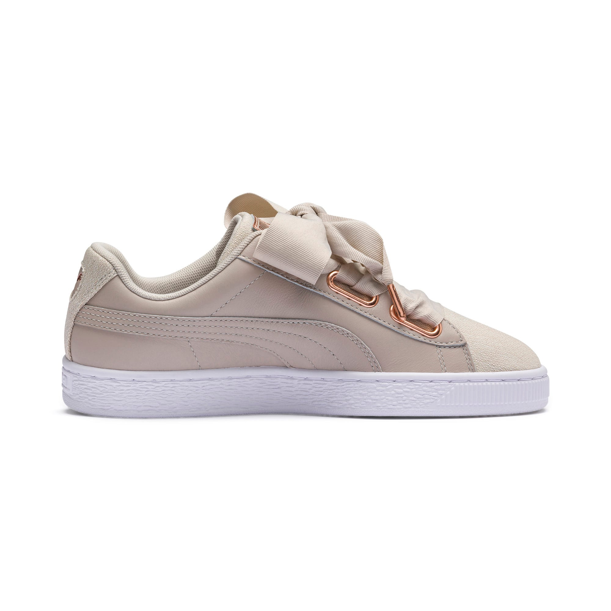 Thumbnail 5 of Basket Heart Woven Rose Women's Sneakers, Silver Gray-Puma White, medium