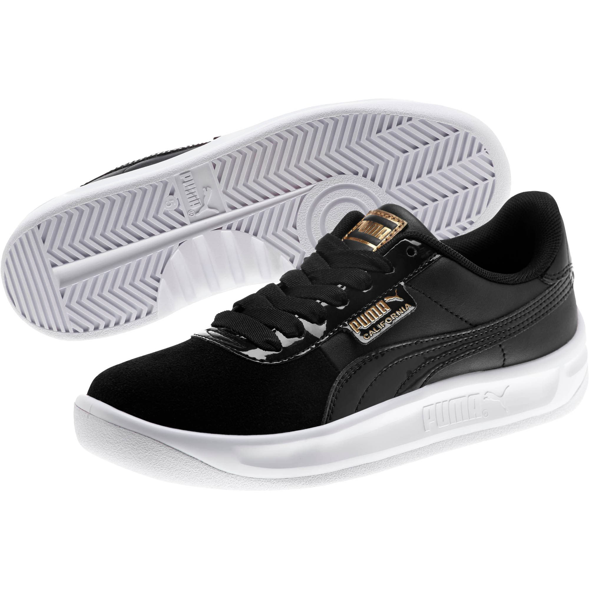 Thumbnail 2 of California Monochrome Women's Sneakers, Puma Black-Puma Team Gold, medium