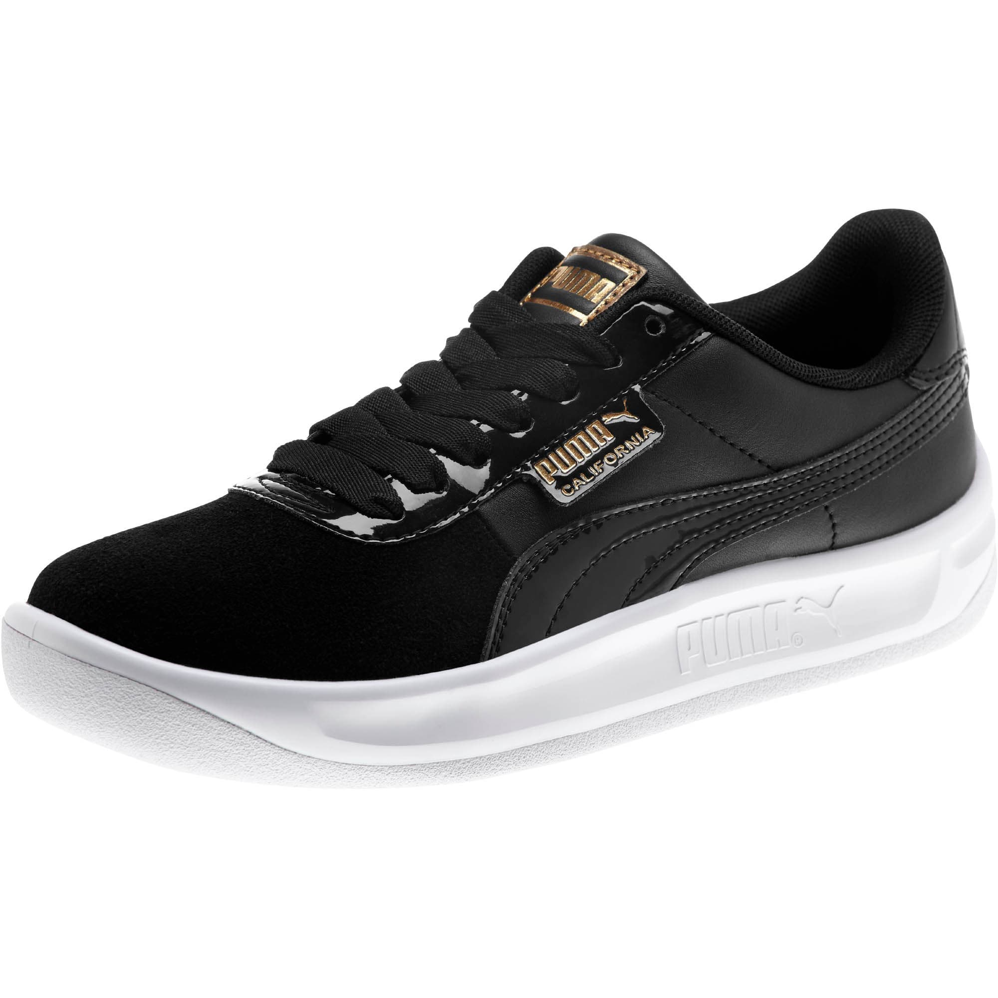 Thumbnail 1 of California Monochrome Women's Sneakers, Puma Black-Puma Team Gold, medium