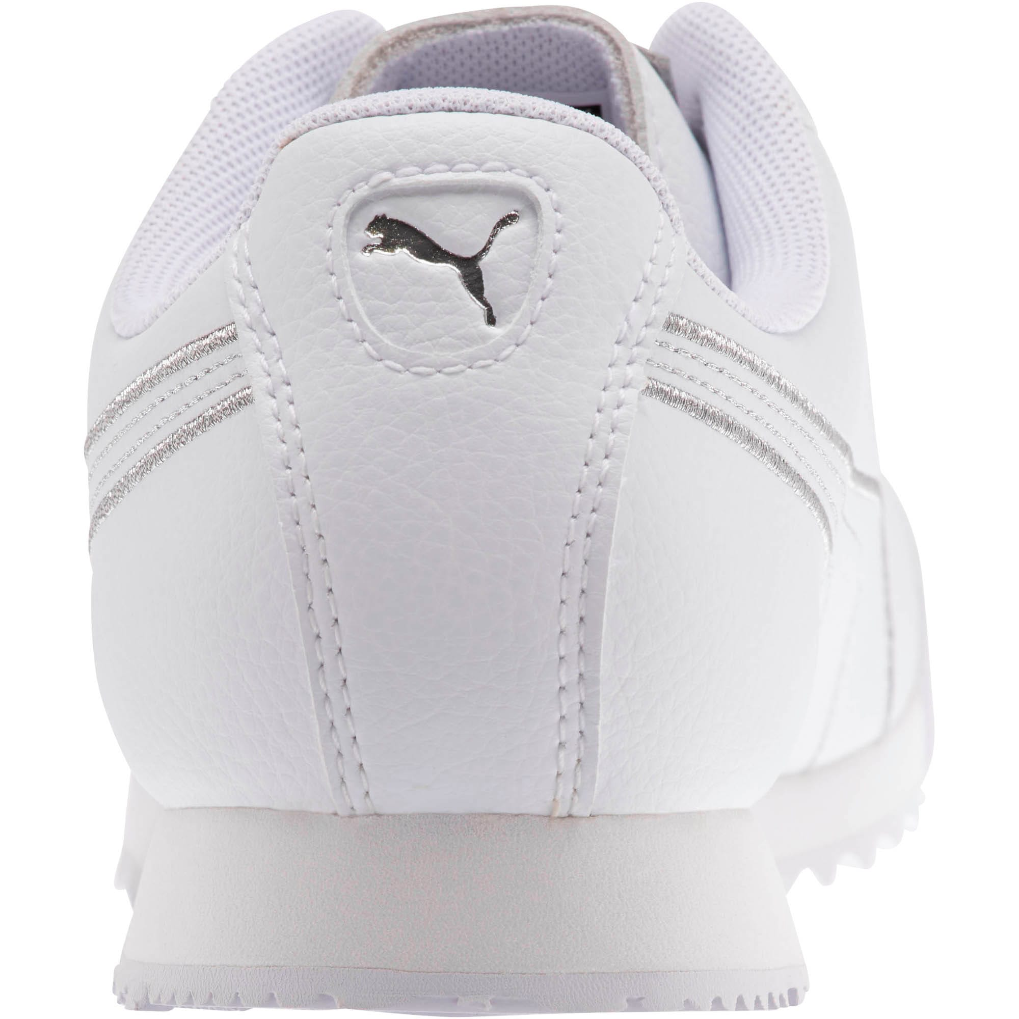 Thumbnail 3 of Roma Metallic Stitch Women's Sneakers, Puma White-Puma Silver, medium