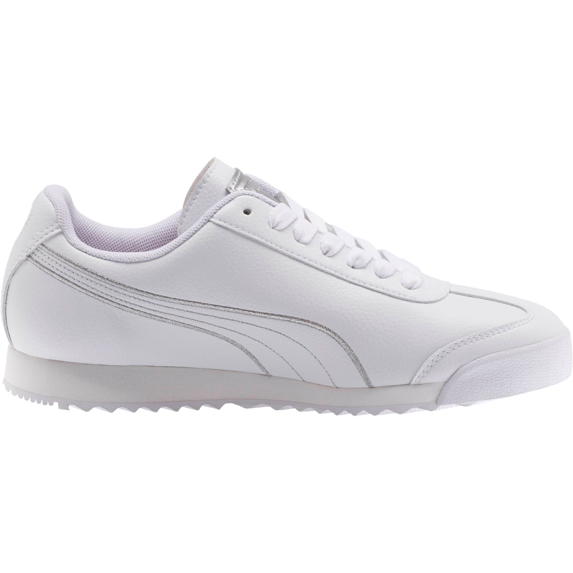 Thumbnail 4 of Roma Metallic Stitch Women's Sneakers, Puma White-Puma Silver, medium