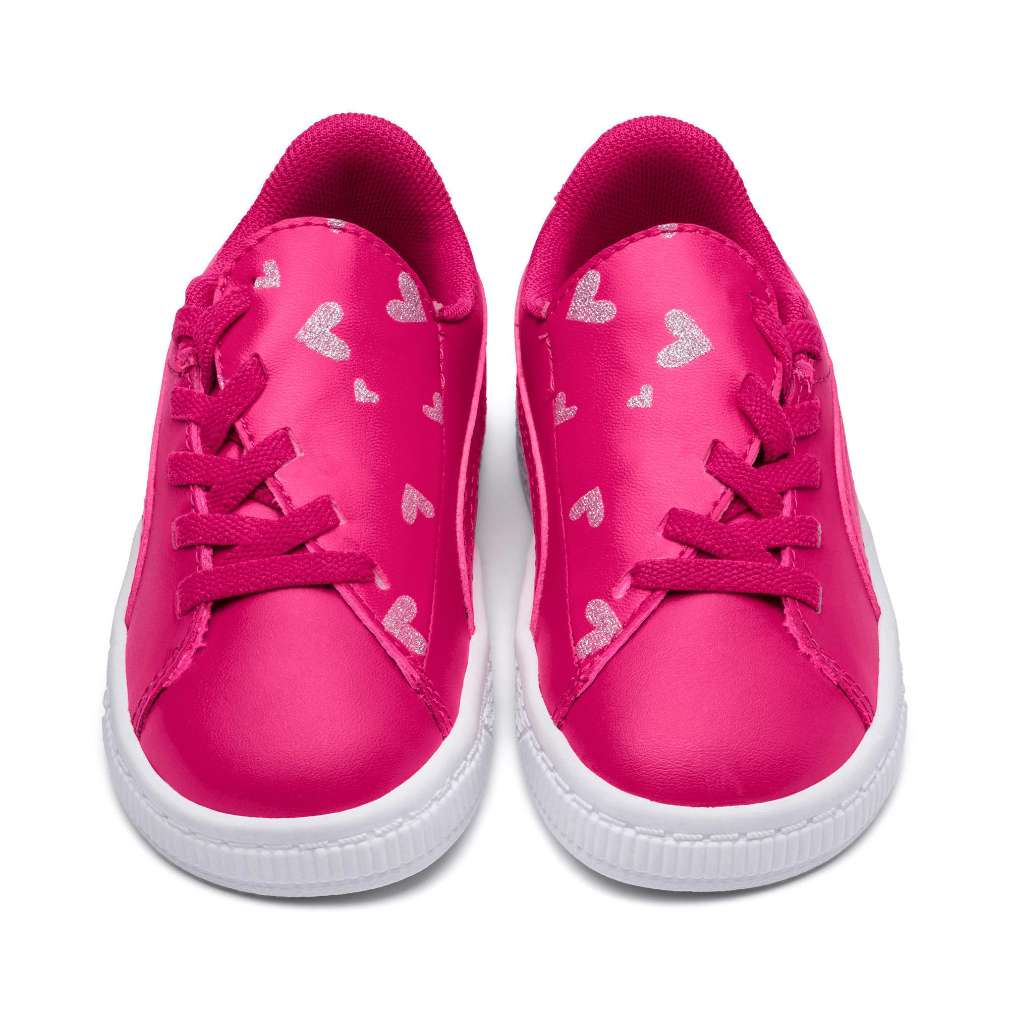 Thumbnail 2 of Basket Crush Glitter Hearts AC Toddler Shoes, Fuchsia Purple-Puma White, medium