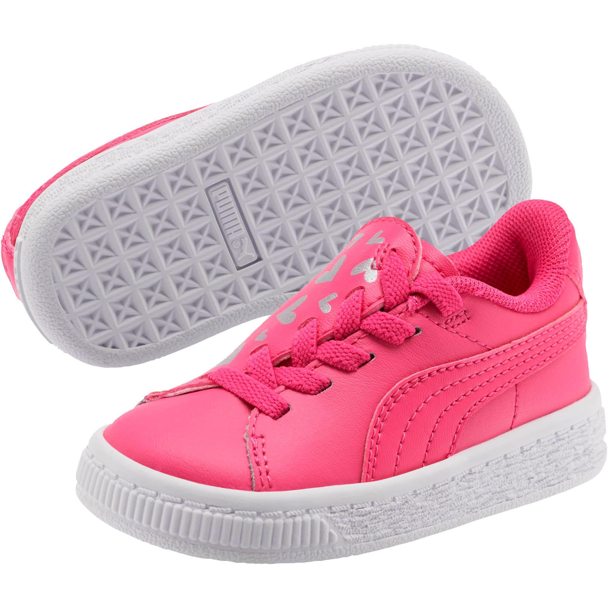 Thumbnail 3 of Basket Crush Glitter Hearts AC Toddler Shoes, Fuchsia Purple-Puma White, medium