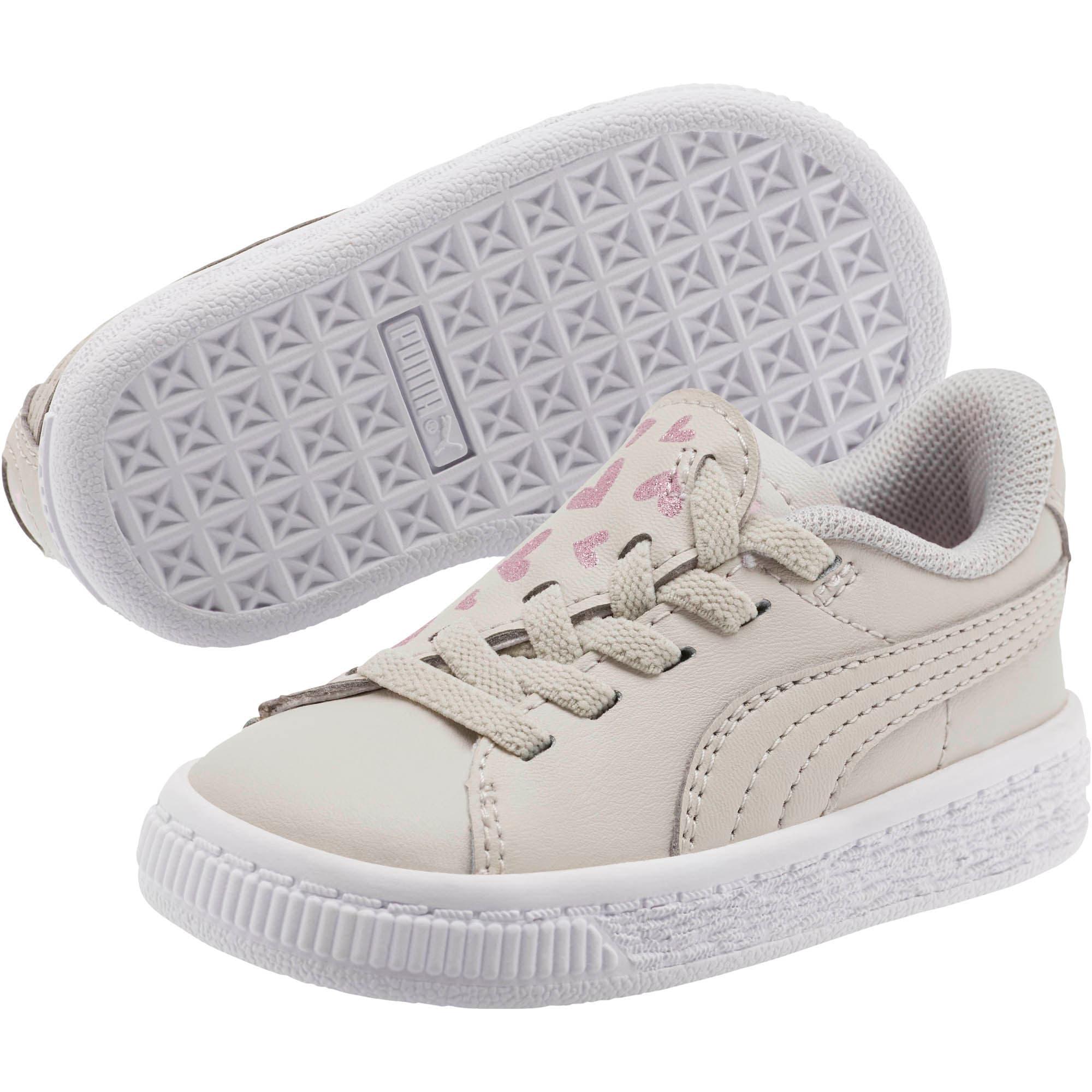 Thumbnail 2 of Basket Crush Glitter Hearts AC Toddler Shoes, Gray Violet-Puma White, medium