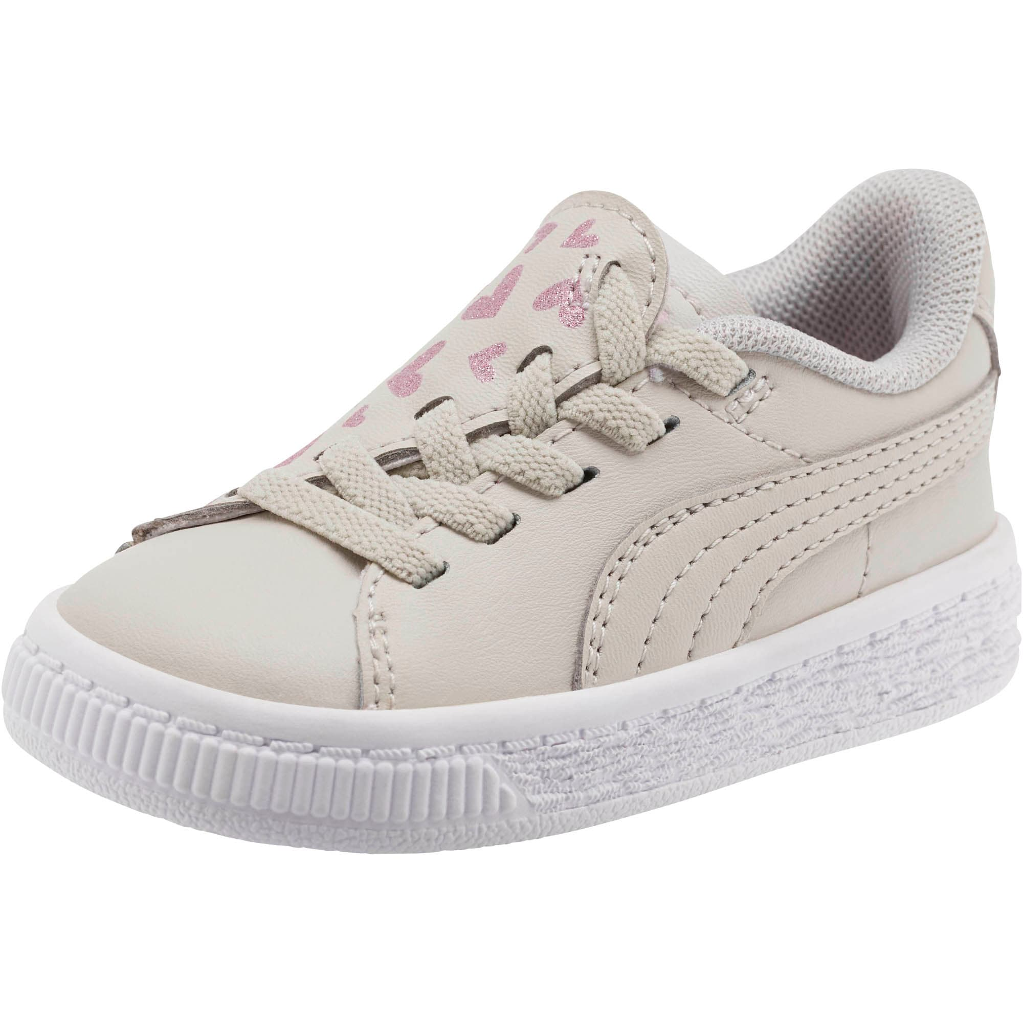 Thumbnail 1 of Basket Crush Glitter Hearts AC Toddler Shoes, Gray Violet-Puma White, medium