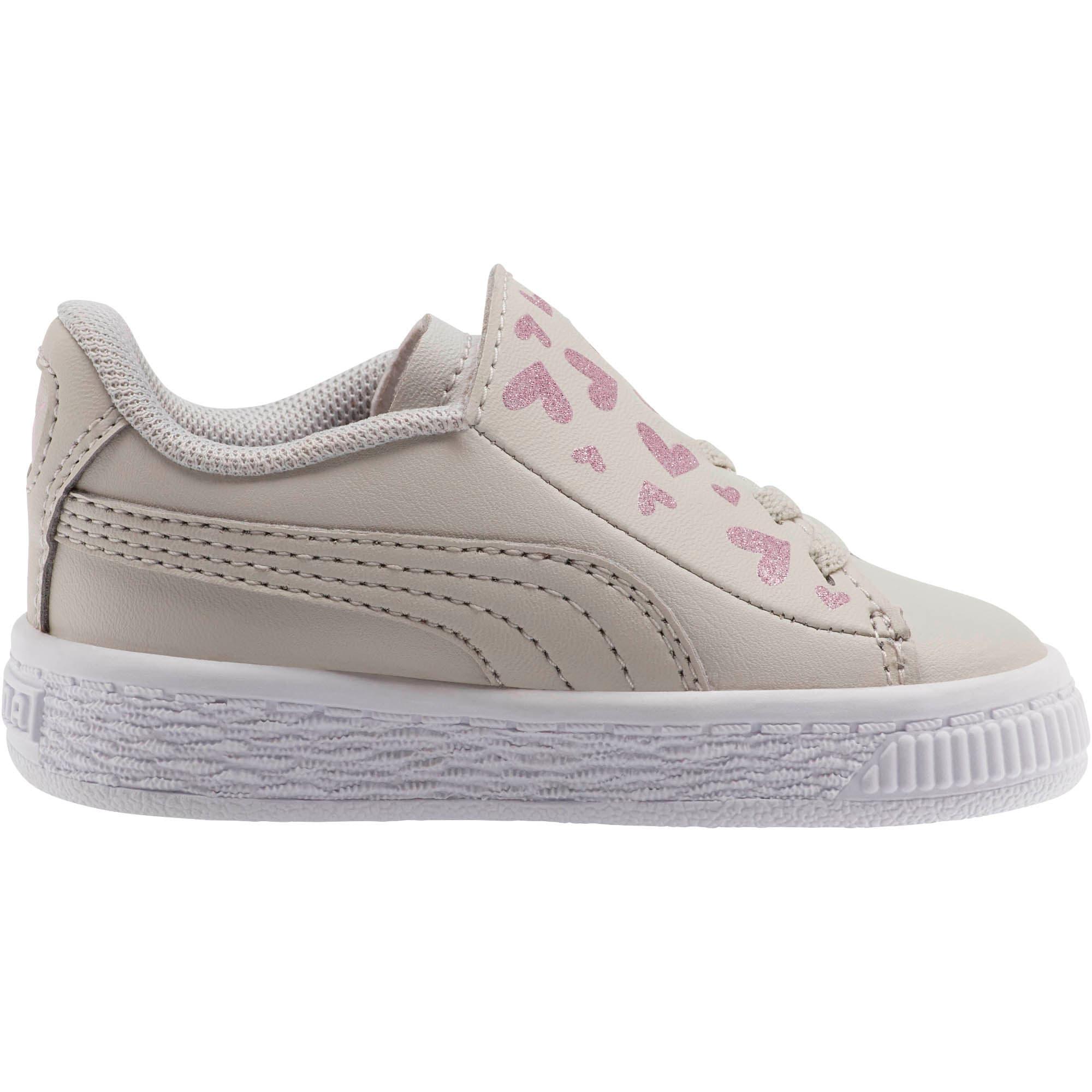 Thumbnail 4 of Basket Crush Glitter Hearts AC Toddler Shoes, Gray Violet-Puma White, medium
