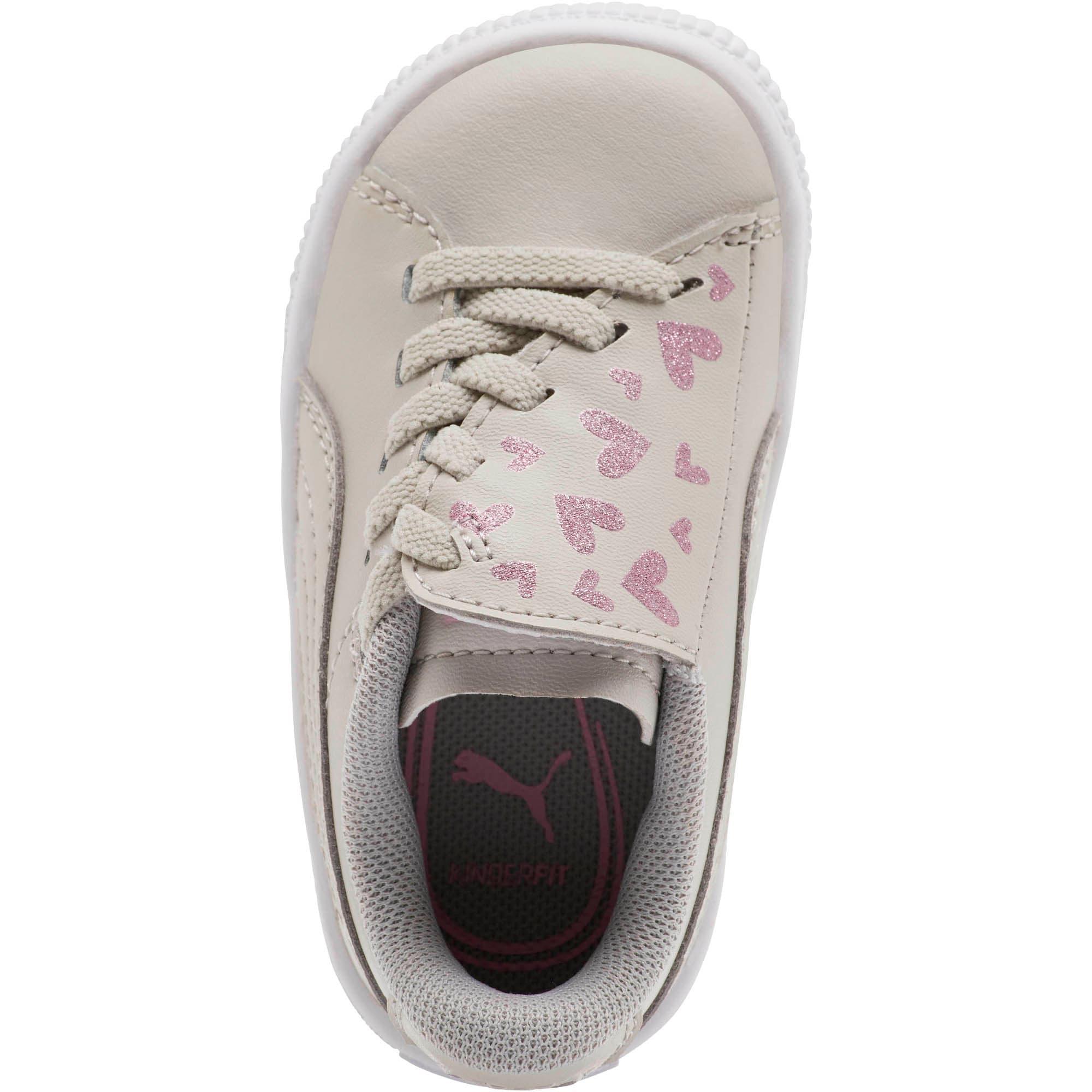 Thumbnail 5 of Basket Crush Glitter Hearts AC Toddler Shoes, Gray Violet-Puma White, medium