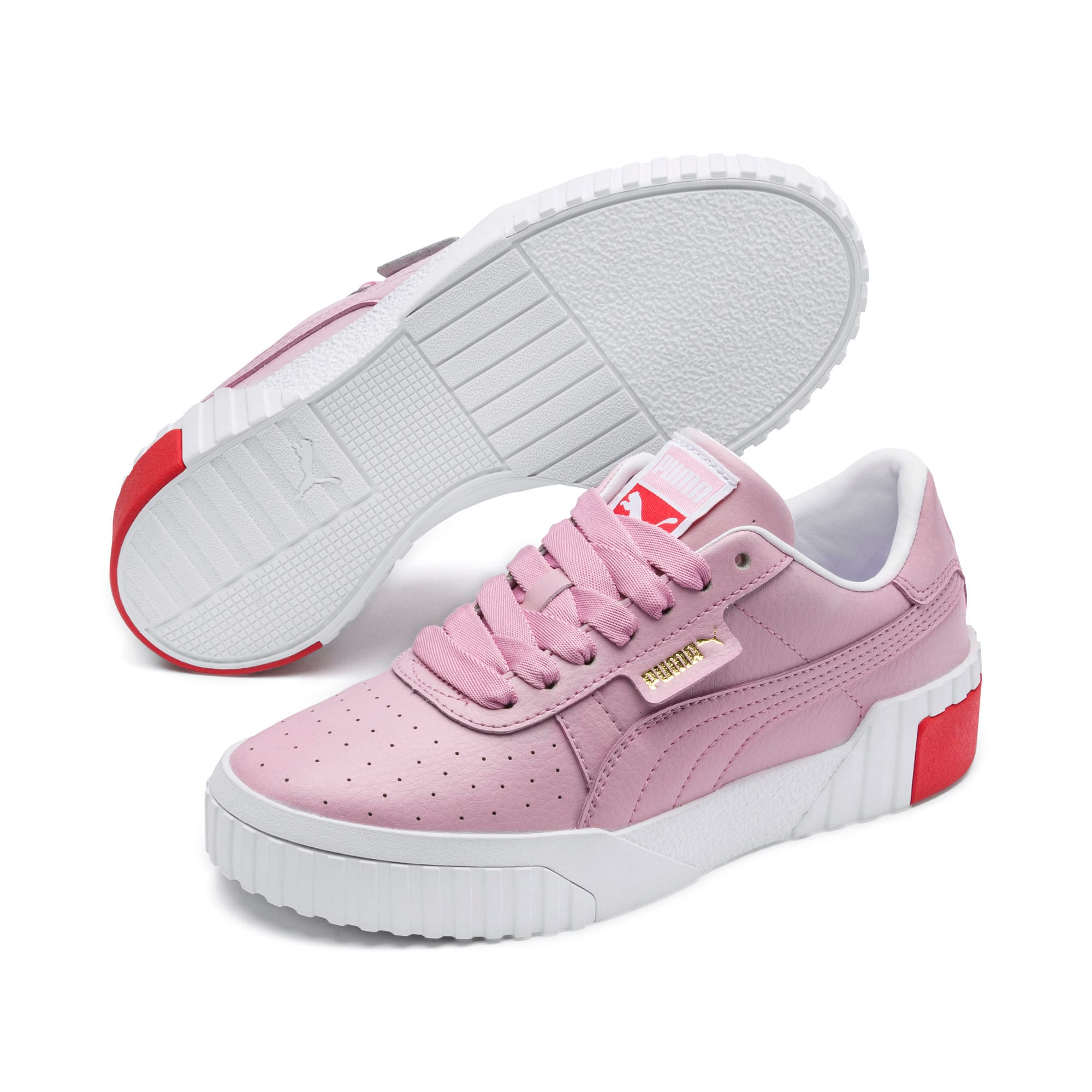 Thumbnail 2 of Cali Girls' Trainers, Puma White-Hibiscus, medium