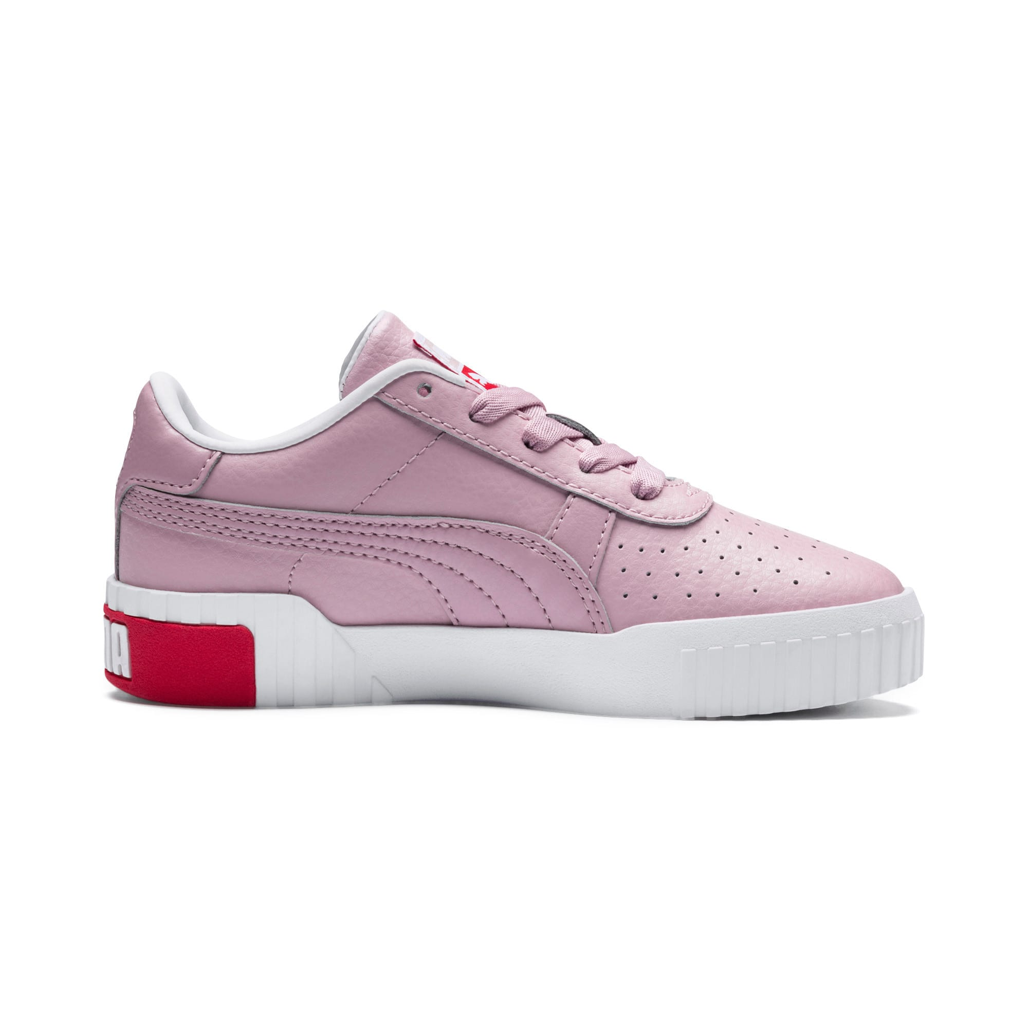 Thumbnail 5 of Cali Girls' Trainers, Puma White-Hibiscus, medium