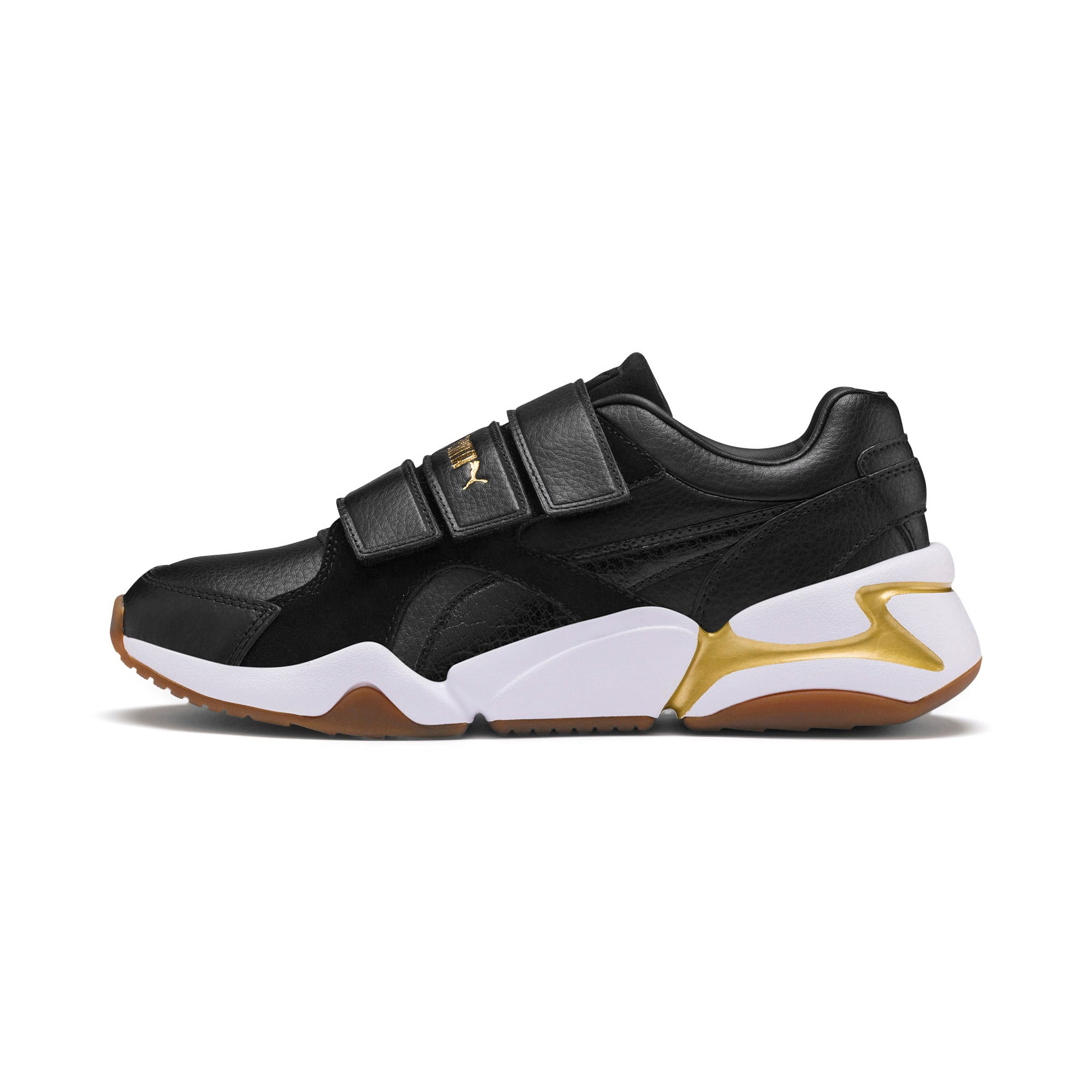 Thumbnail 1 of Nova V Leather Women's Trainers, Puma Black-Puma Team Gold, medium
