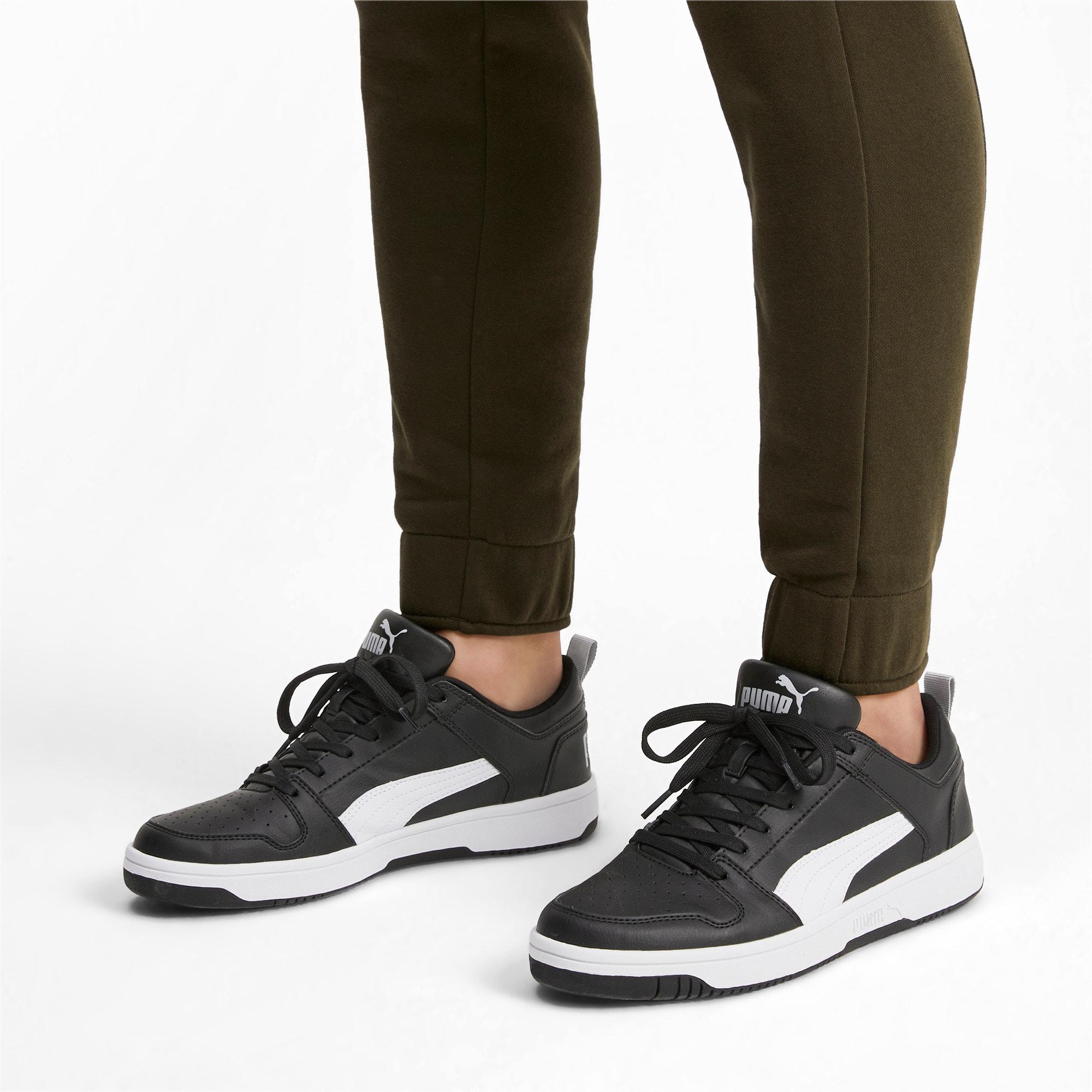 Thumbnail 2 of PUMA Rebound LayUp Lo Sneakers, Puma Black-White-High Rise, medium