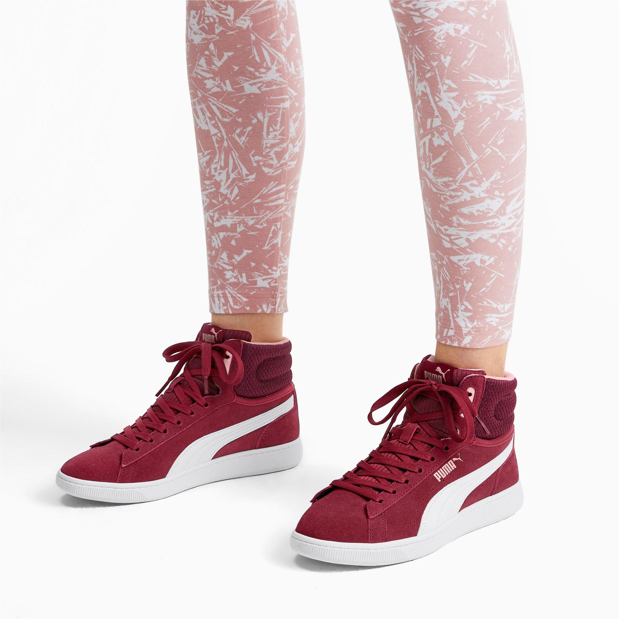 Thumbnail 3 of PUMA Vikky v2 Mid Women's Sneakers, Cordovan-White-Bridal Rose, medium