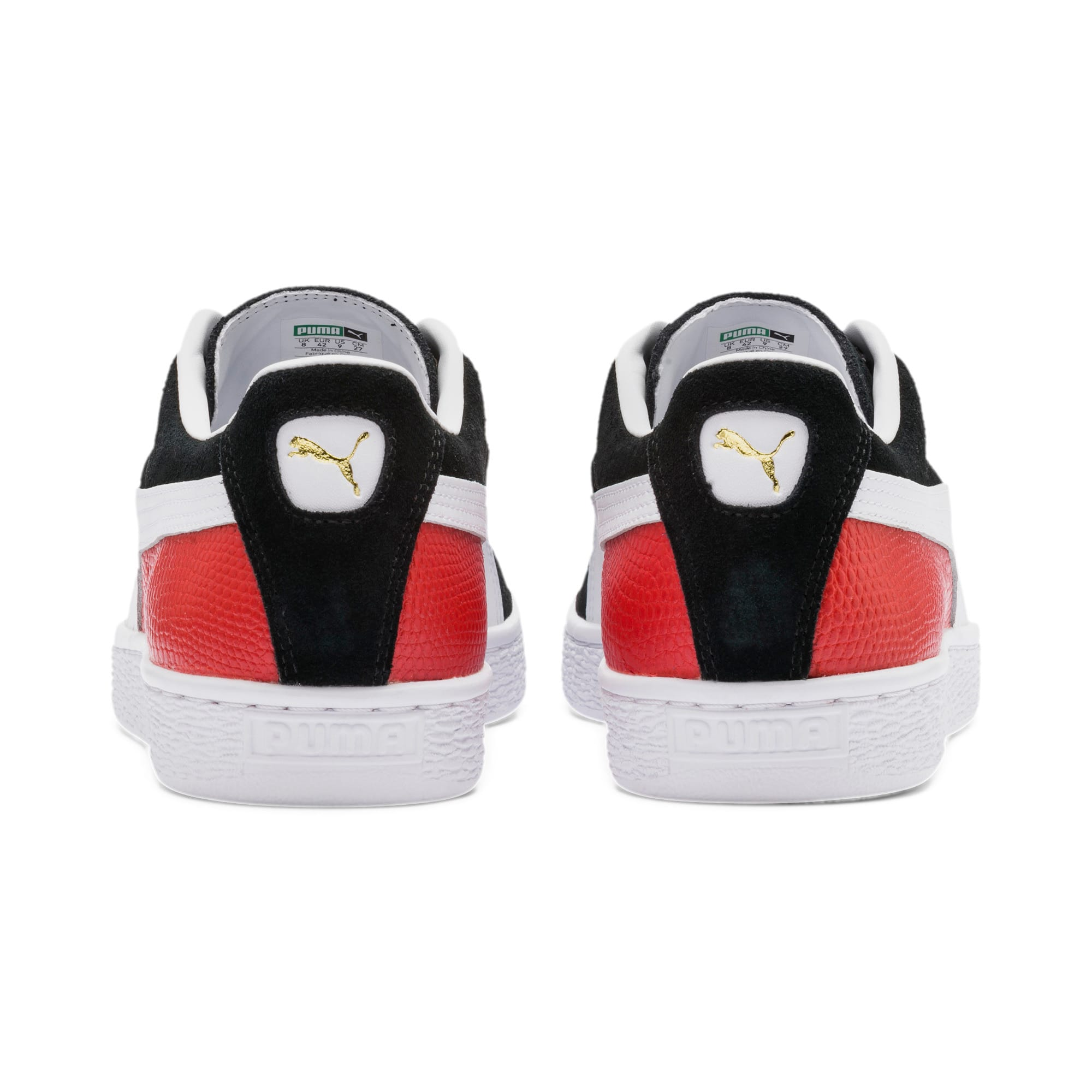Thumbnail 5 of Suede Classic Block Sneakers, Black-High Risk Red-White, medium