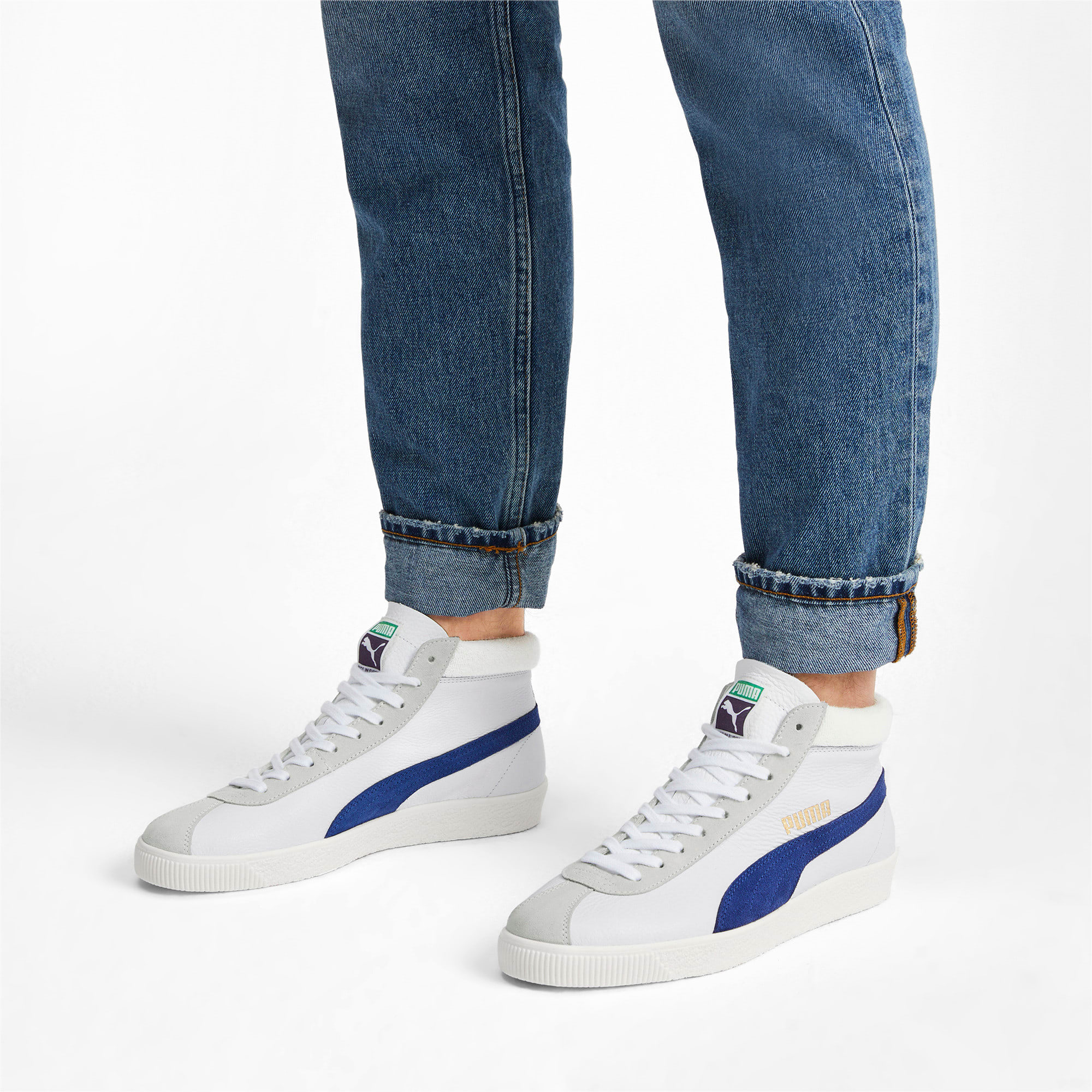 Thumbnail 2 of Basket '68 Mid Trainers, Puma White-Galaxy Blue, medium