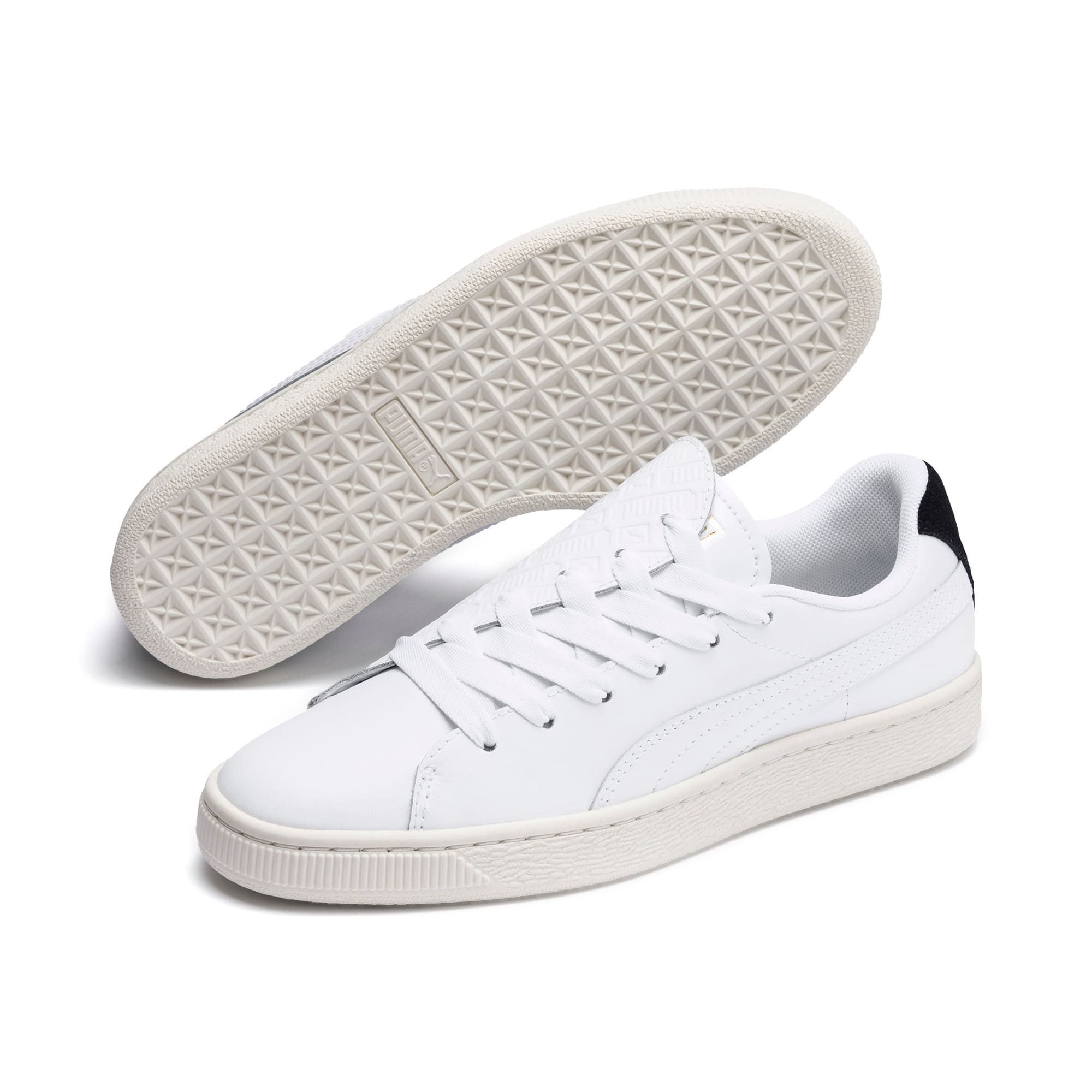 Thumbnail 3 of Basket Crush Deboss Women's Trainers, Puma White-Puma Team Gold, medium