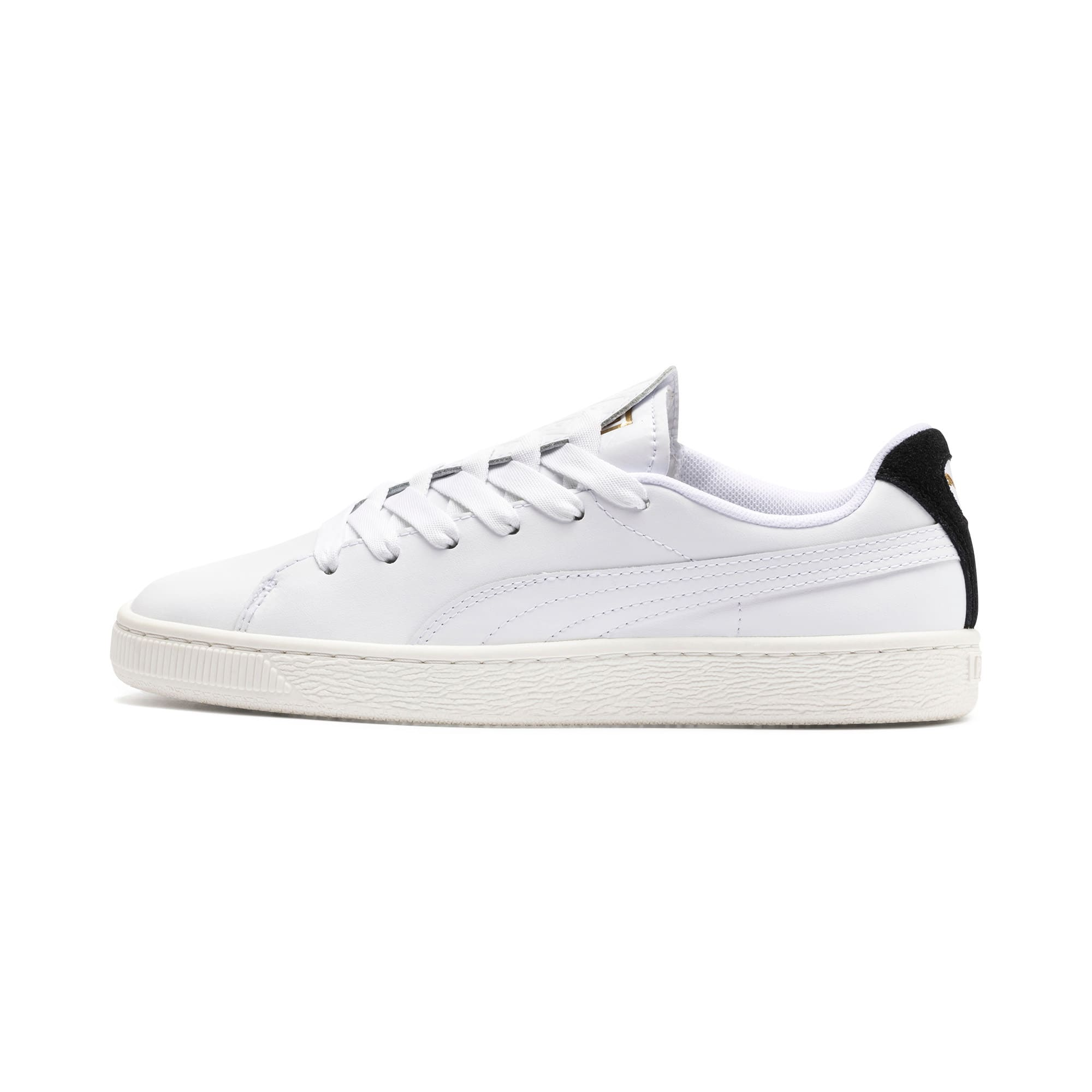 Thumbnail 1 of Basket Crush Deboss Women's Trainers, Puma White-Puma Team Gold, medium