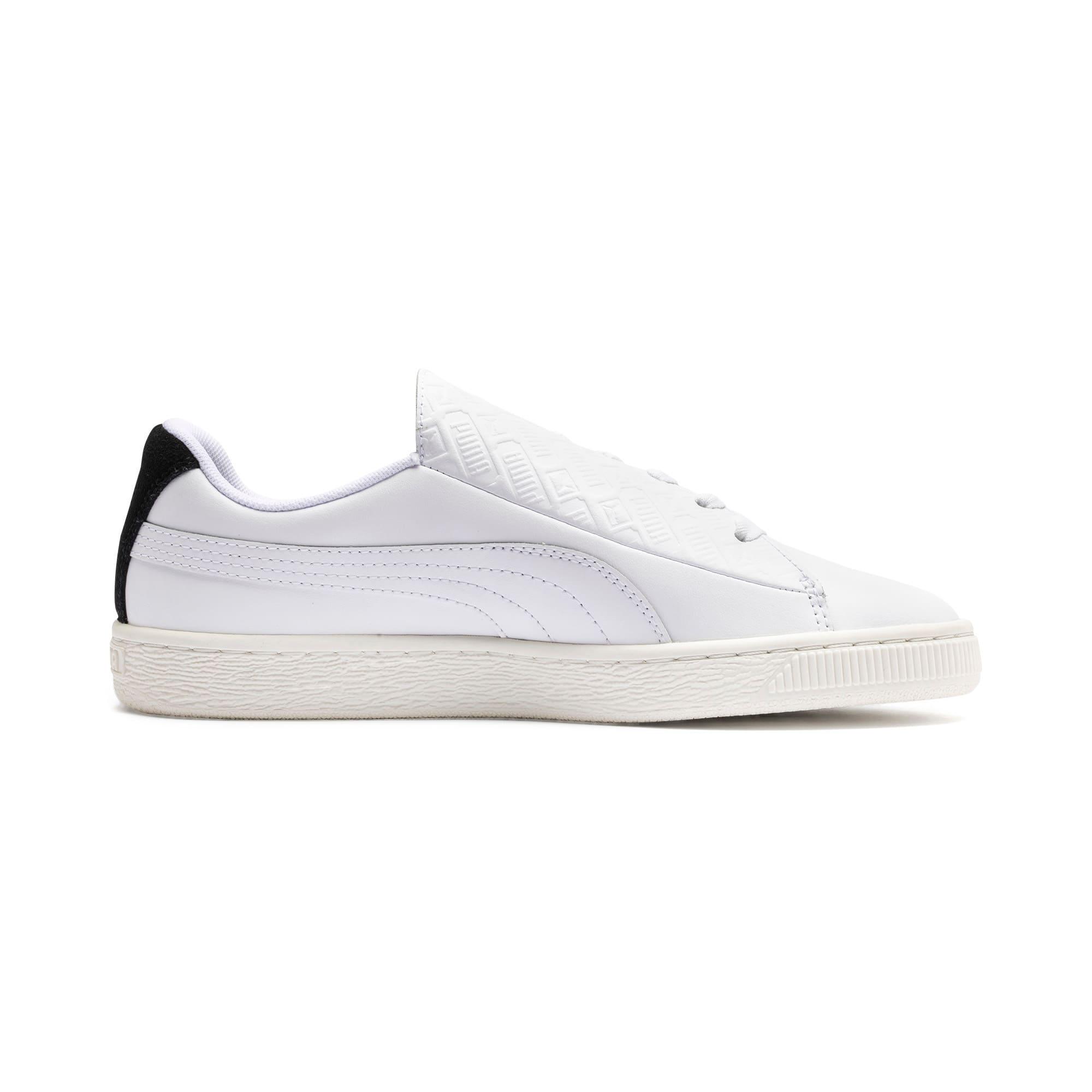 Thumbnail 6 of Basket Crush Deboss Women's Trainers, Puma White-Puma Team Gold, medium
