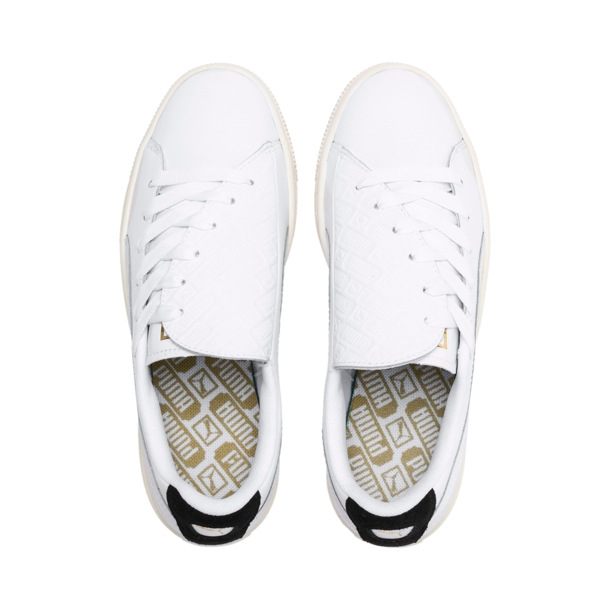 Thumbnail 7 of Basket Crush Deboss Women's Trainers, Puma White-Puma Team Gold, medium