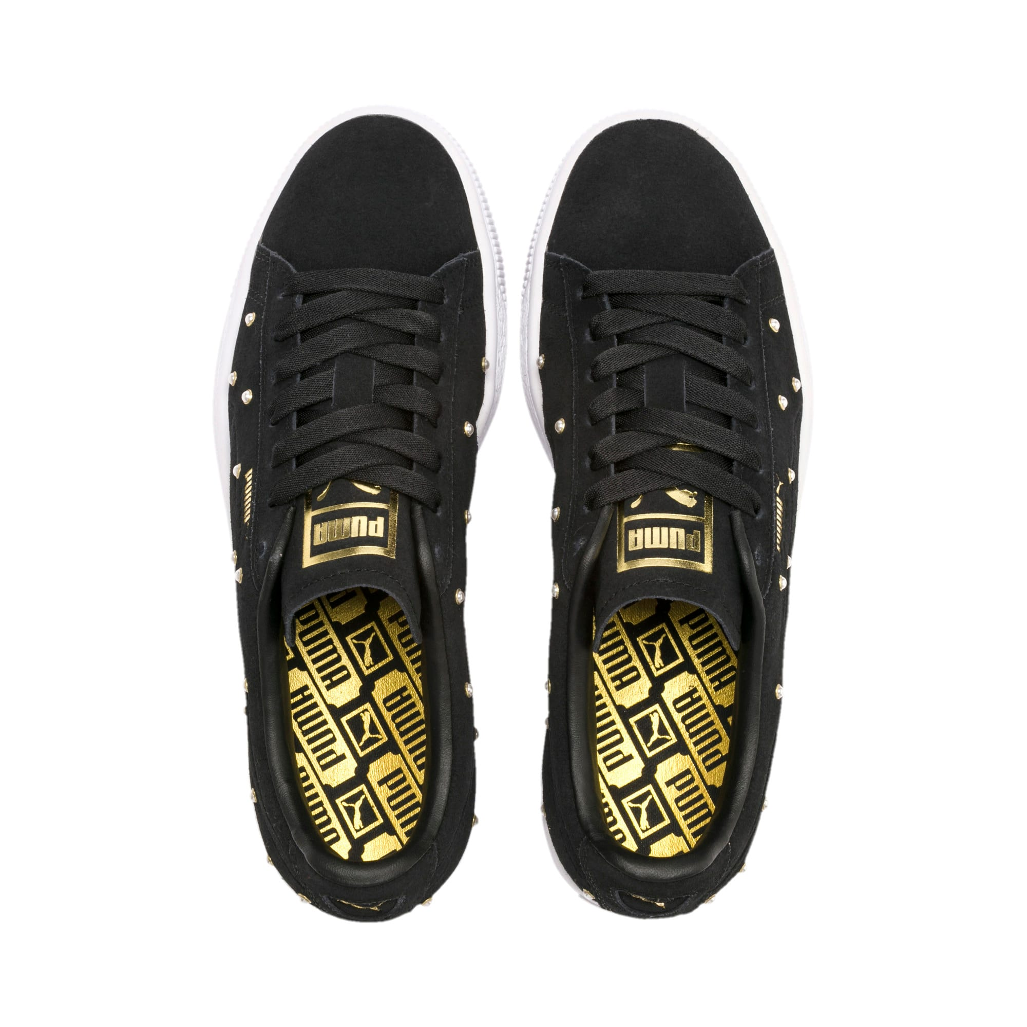 Thumbnail 7 of Pearl Studs Suede Women's Trainers, Puma Black-Puma Team Gold, medium