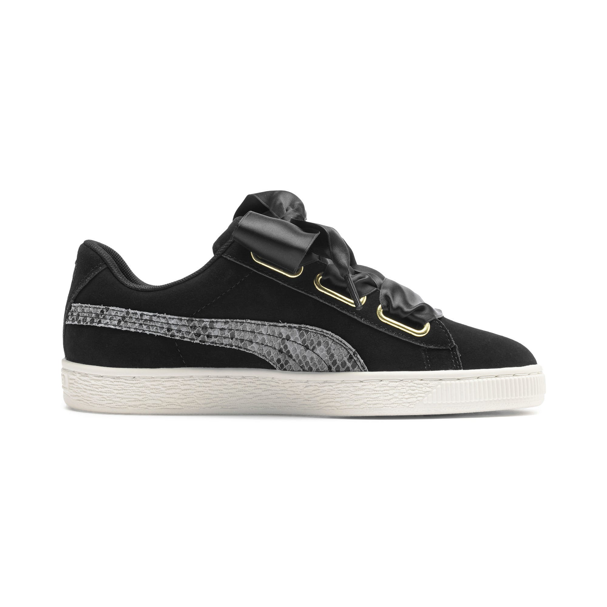 Thumbnail 5 of Suede Heart Snake Lux Women's Trainers, Puma Black-Puma Team Gold, medium-IND