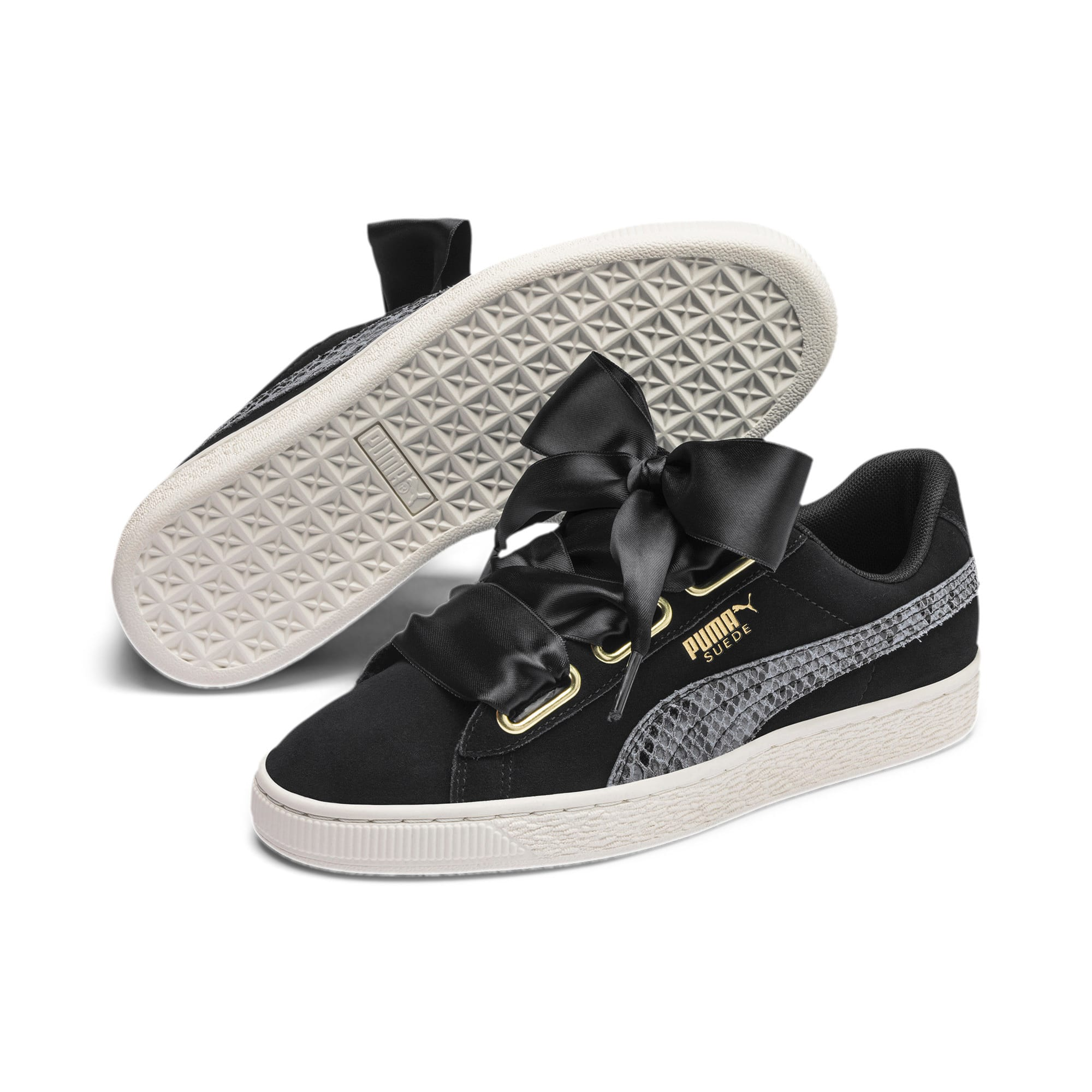 Thumbnail 3 of Suede Heart Snake Lux Women's Sneakers, Puma Black-Puma Team Gold, medium
