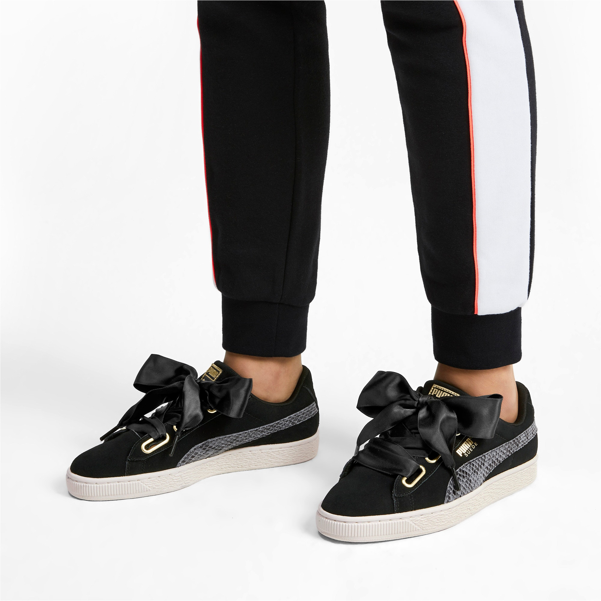 Thumbnail 3 of Suede Heart Snake Lux Women's Trainers, Puma Black-Puma Team Gold, medium-IND