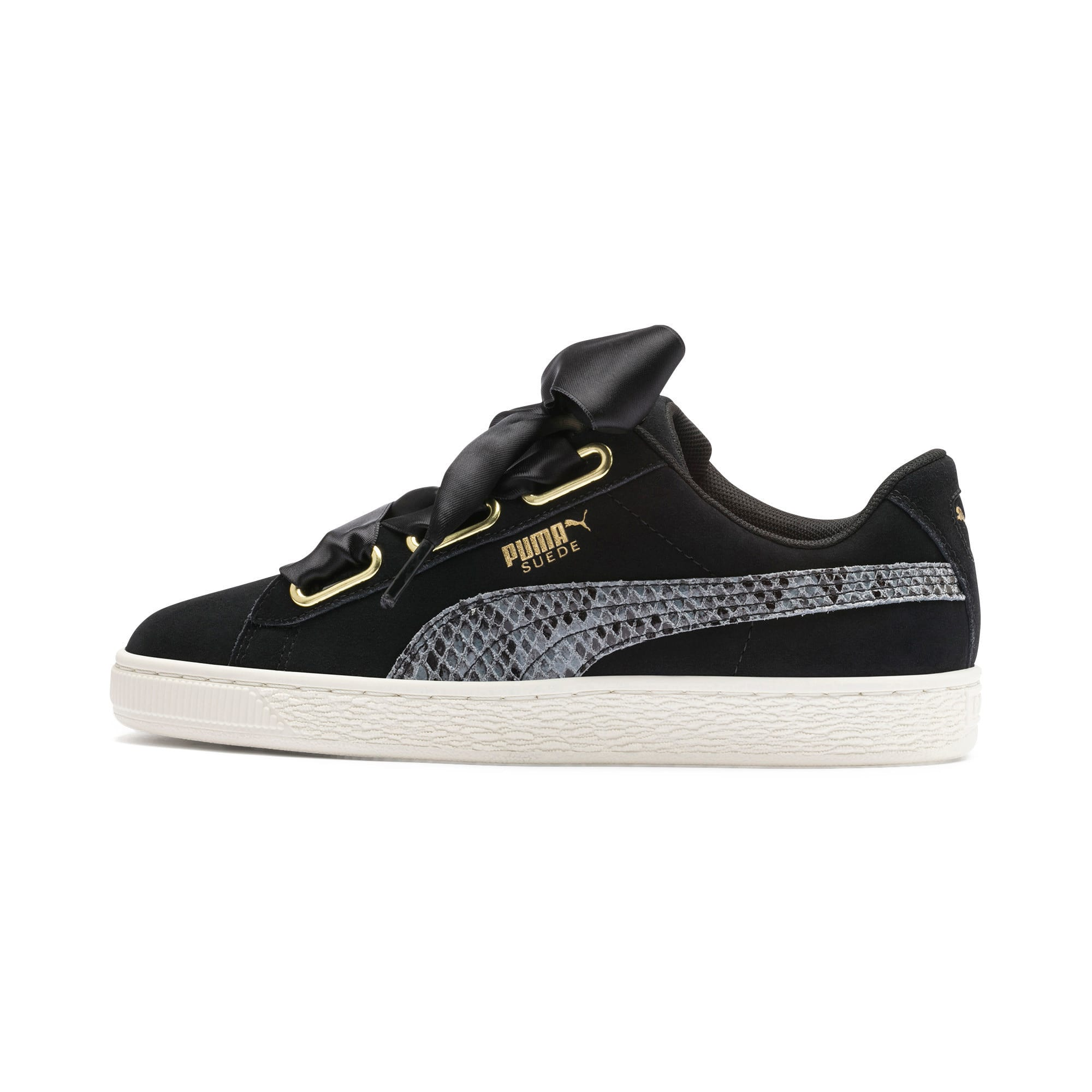 Thumbnail 1 of Suede Heart Snake Lux Women's Trainers, Puma Black-Puma Team Gold, medium-IND