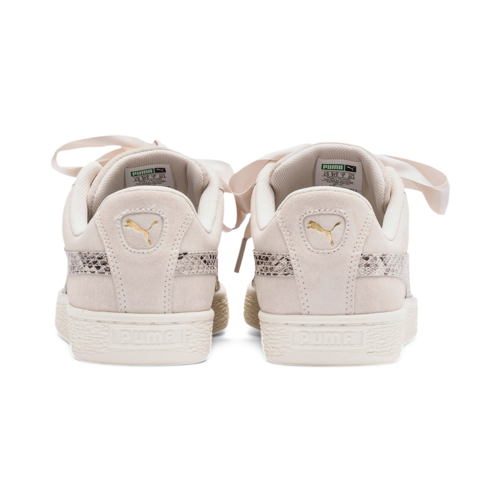 Thumbnail 4 of Suede Heart Snake Lux Women's Sneakers, Pastel Parchment-PTeam Gold, medium