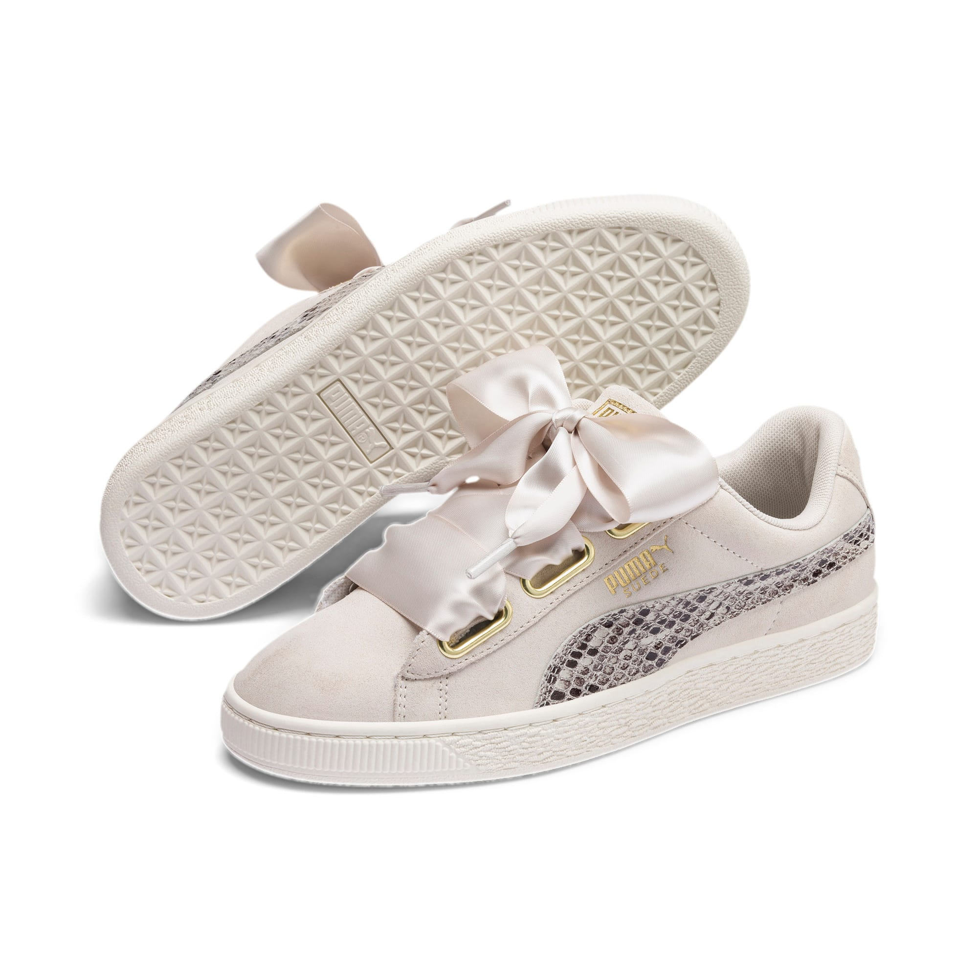 Thumbnail 3 of Suede Heart Snake Lux Women's Sneakers, Pastel Parchment-PTeam Gold, medium