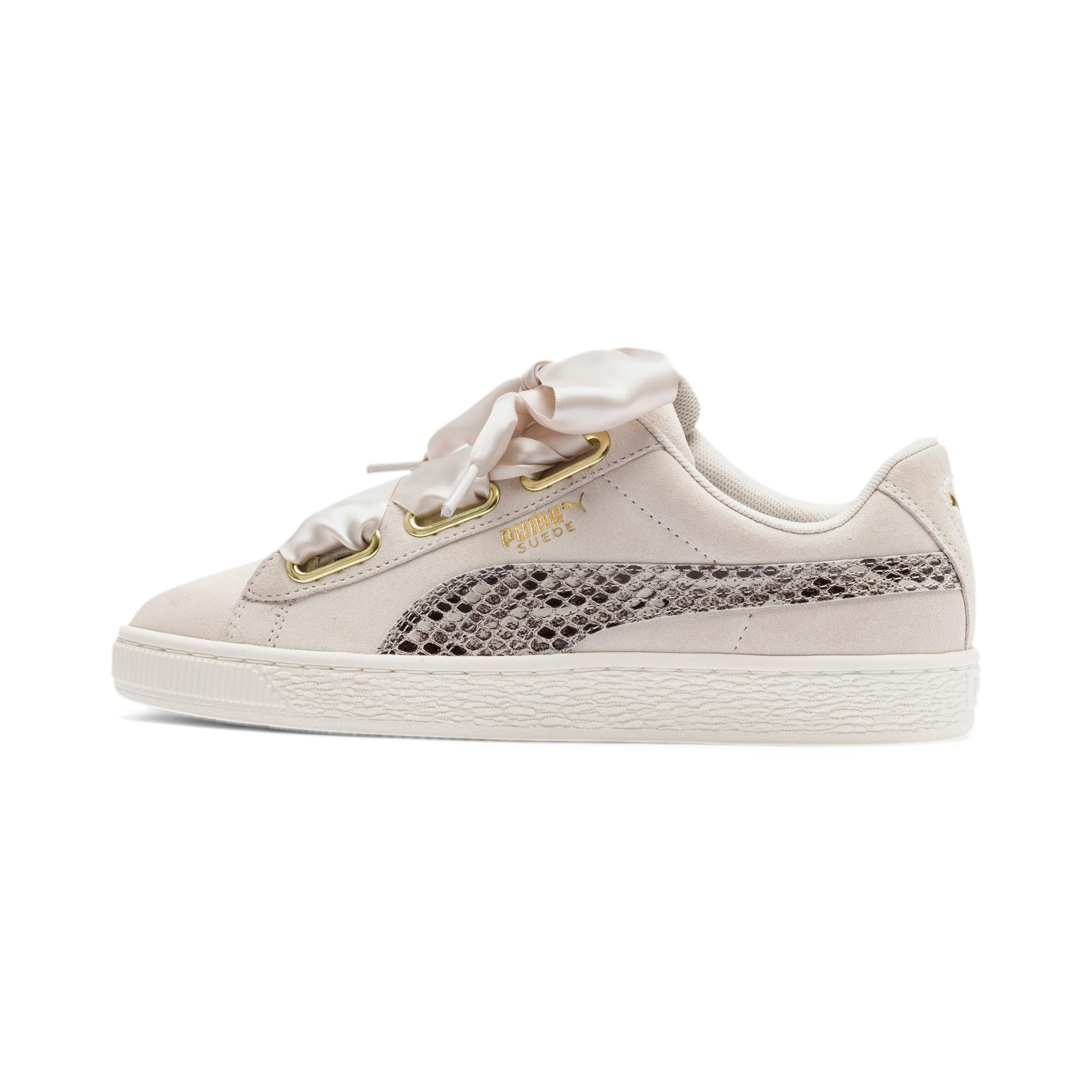 Thumbnail 1 of Suede Heart Snake Lux Women's Sneakers, Pastel Parchment-PTeam Gold, medium