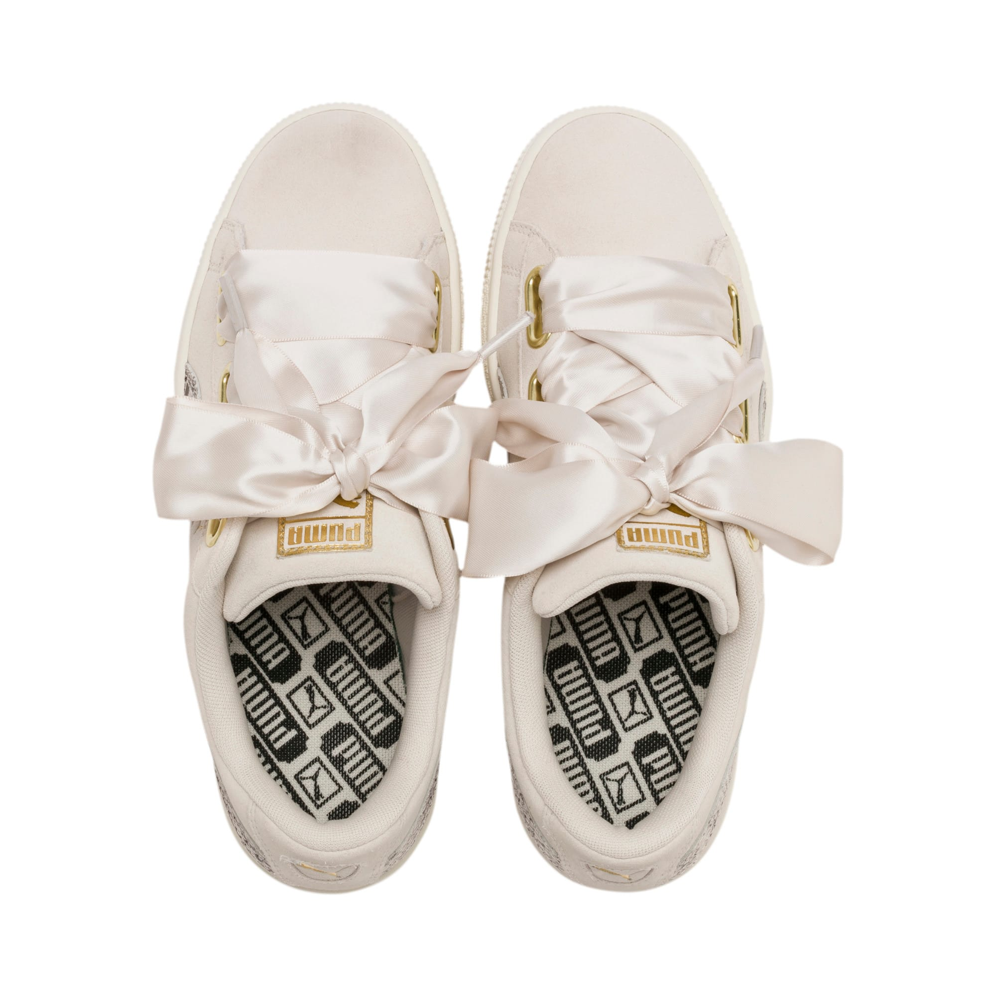 Thumbnail 7 of Suede Heart Snake Lux Women's Sneakers, Pastel Parchment-PTeam Gold, medium