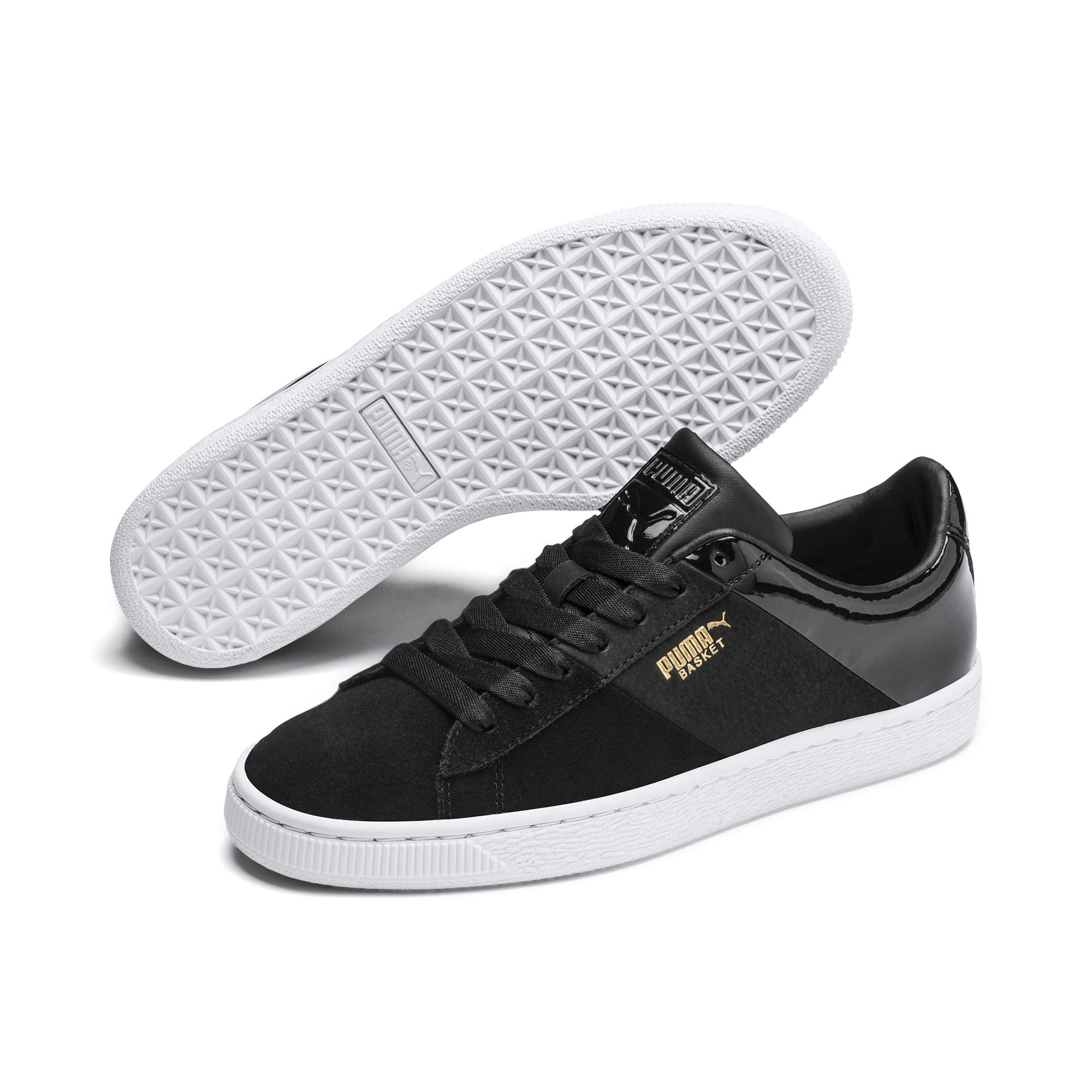 Thumbnail 3 of Basket Remix Women's Trainers, Puma Black-Puma Team Gold, medium