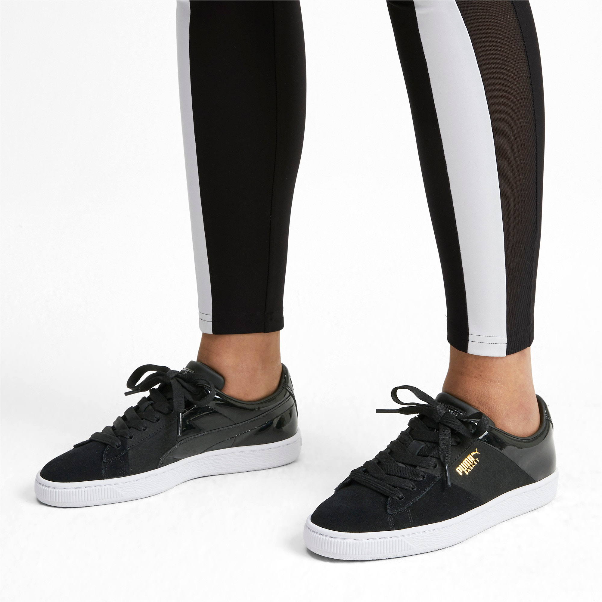 Thumbnail 2 of Basket Remix Women's Trainers, Puma Black-Puma Team Gold, medium