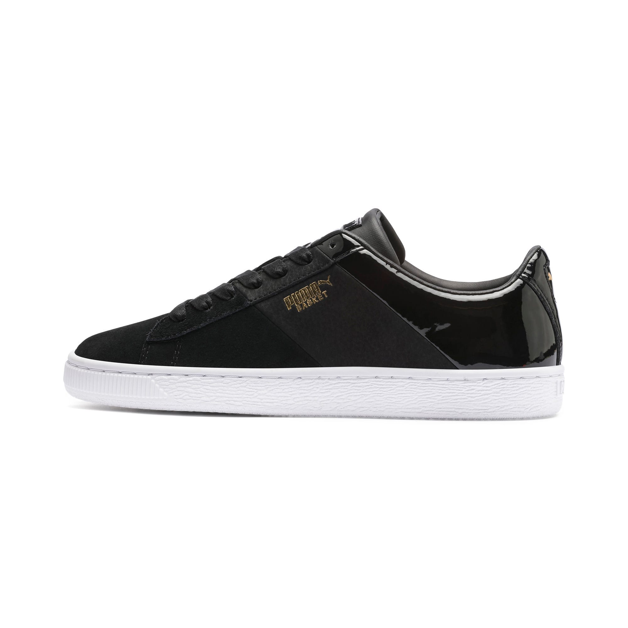 Thumbnail 1 of Basket Remix Women's Trainers, Puma Black-Puma Team Gold, medium