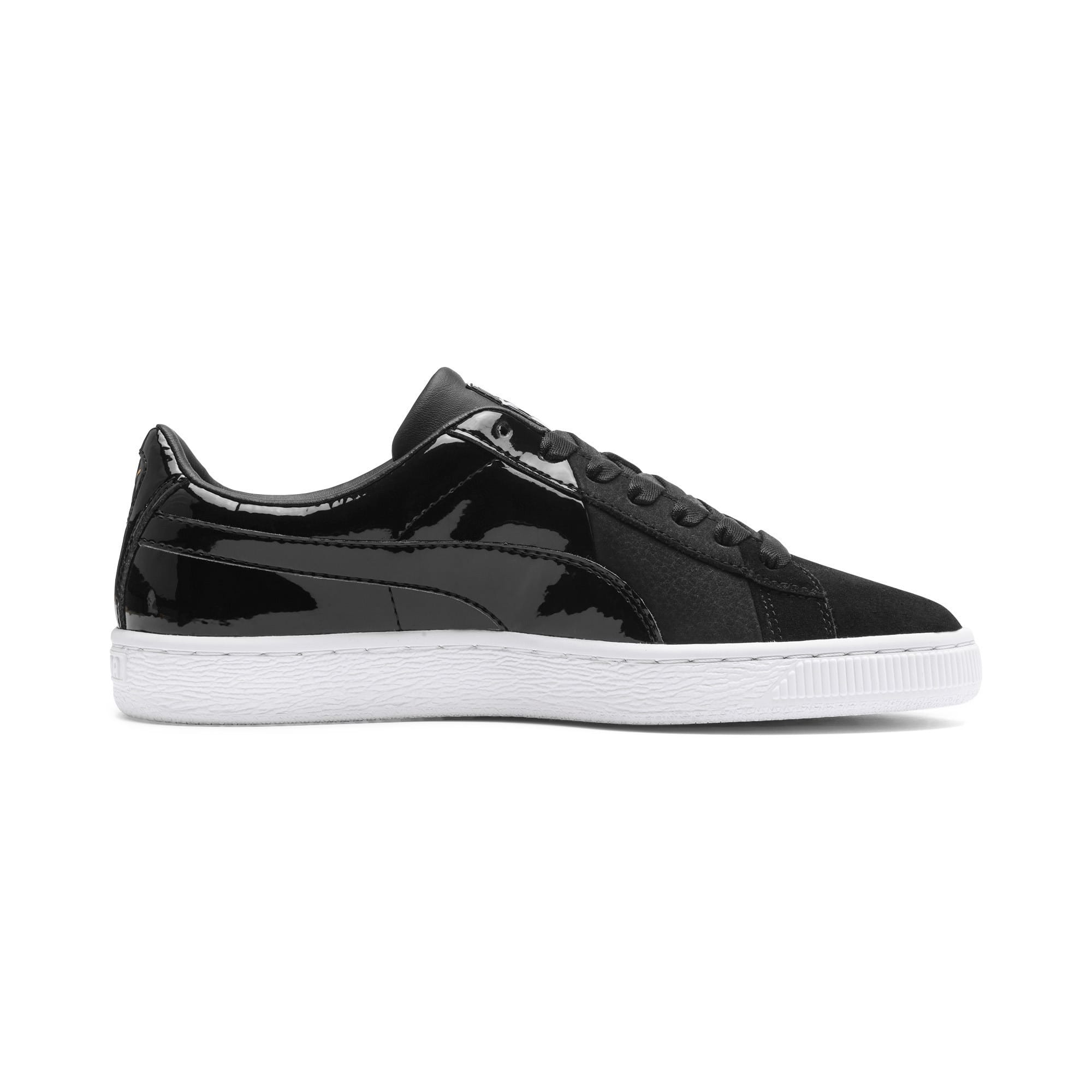 Thumbnail 6 of Basket Remix Women's Trainers, Puma Black-Puma Team Gold, medium