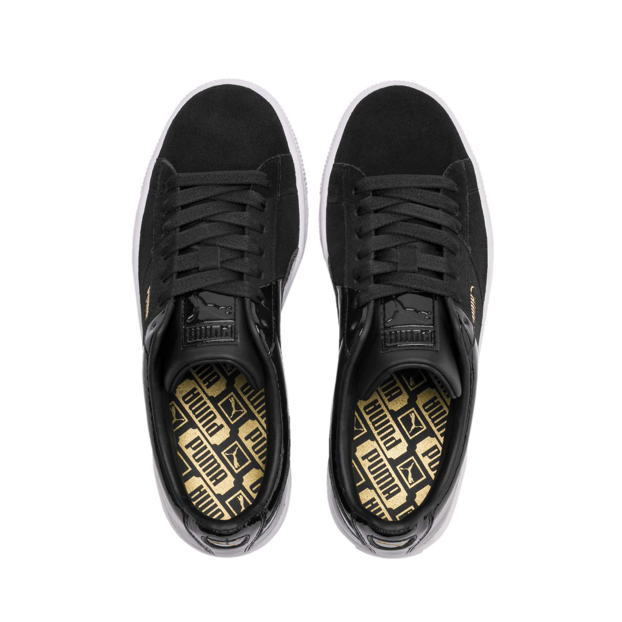 Thumbnail 7 of Basket Remix Women's Trainers, Puma Black-Puma Team Gold, medium