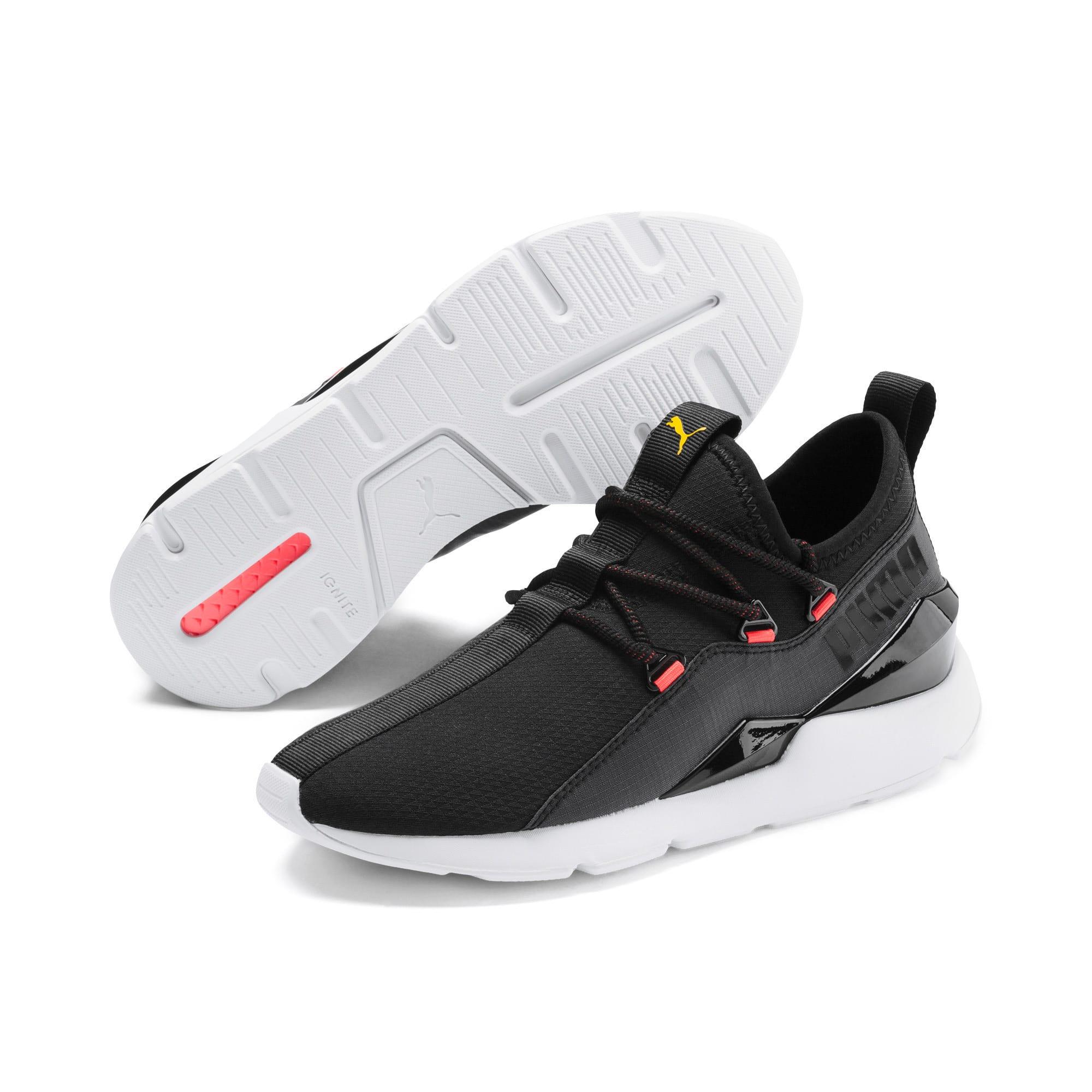 Thumbnail 3 of Muse 2 Hypertech Women's Sneakers, Puma Black-Sulphur, medium