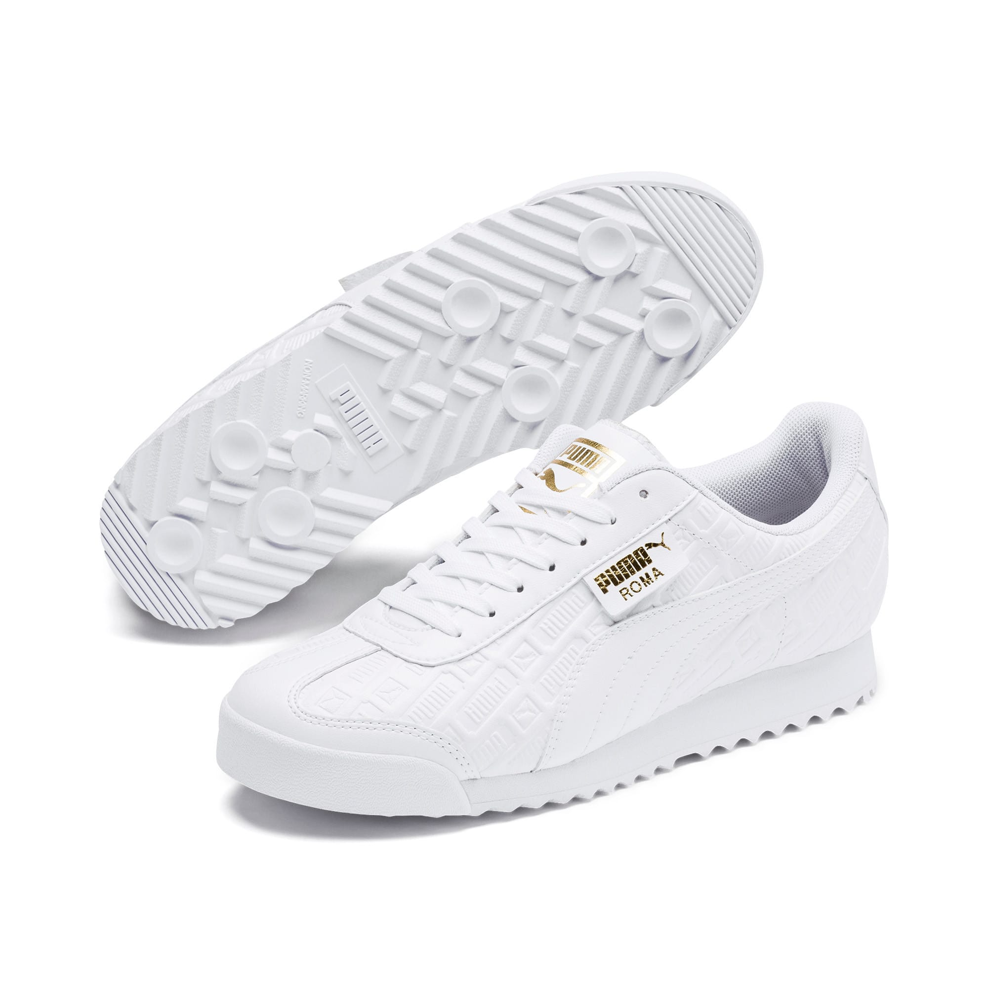 Thumbnail 3 of Roma Reinvent Women's Sneakers, Puma White-Puma Team Gold, medium