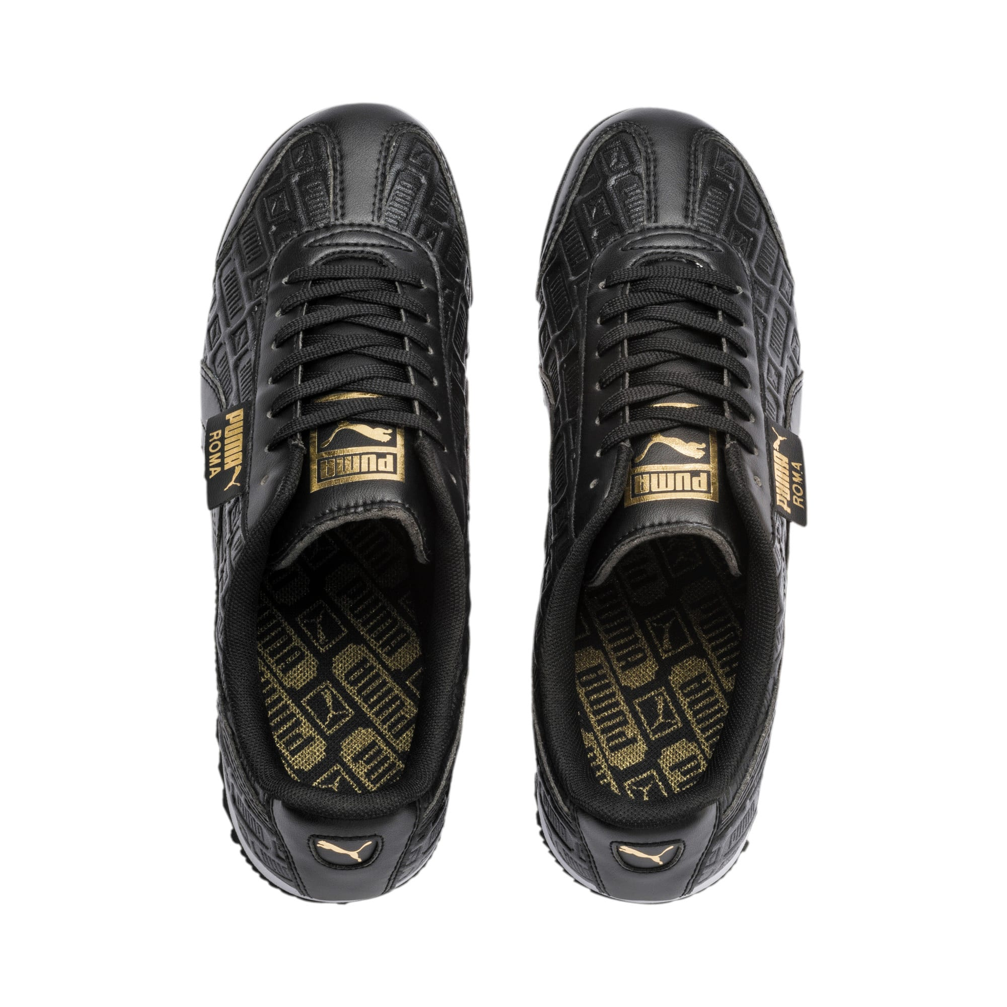 Thumbnail 7 of Roma Reinvent Women's Sneakers, Puma Black-Puma Team Gold, medium