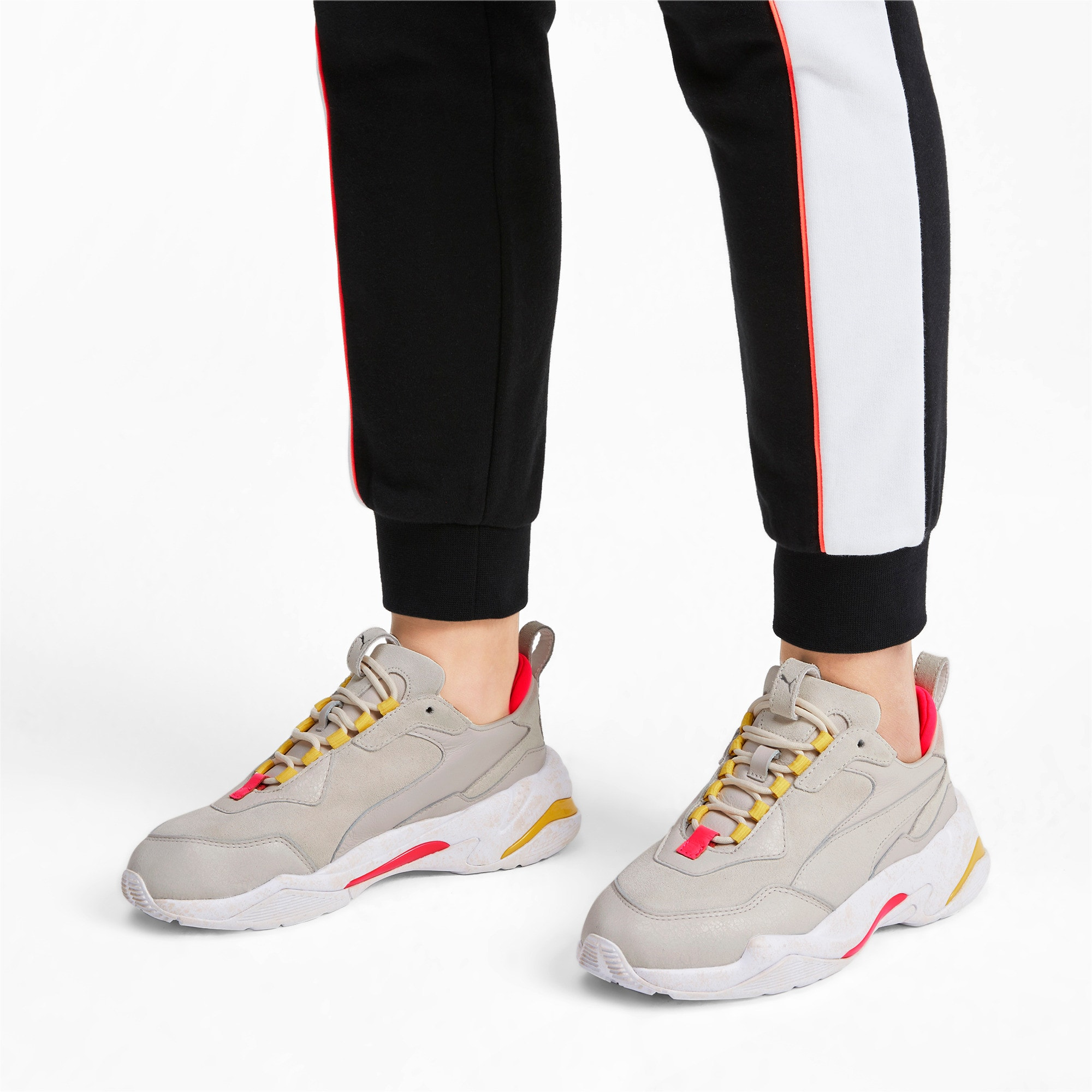 Thumbnail 2 of Thunder Distressed Women's Sneakers, Pastel Parchment-Puma Silver, medium