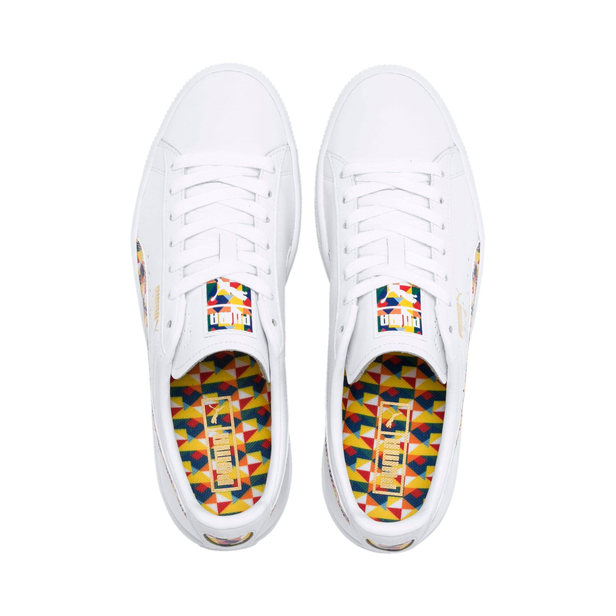 Thumbnail 7 of Clyde Graffiti Sneakers, Puma Wht-Dandelion-Puma Wht, medium