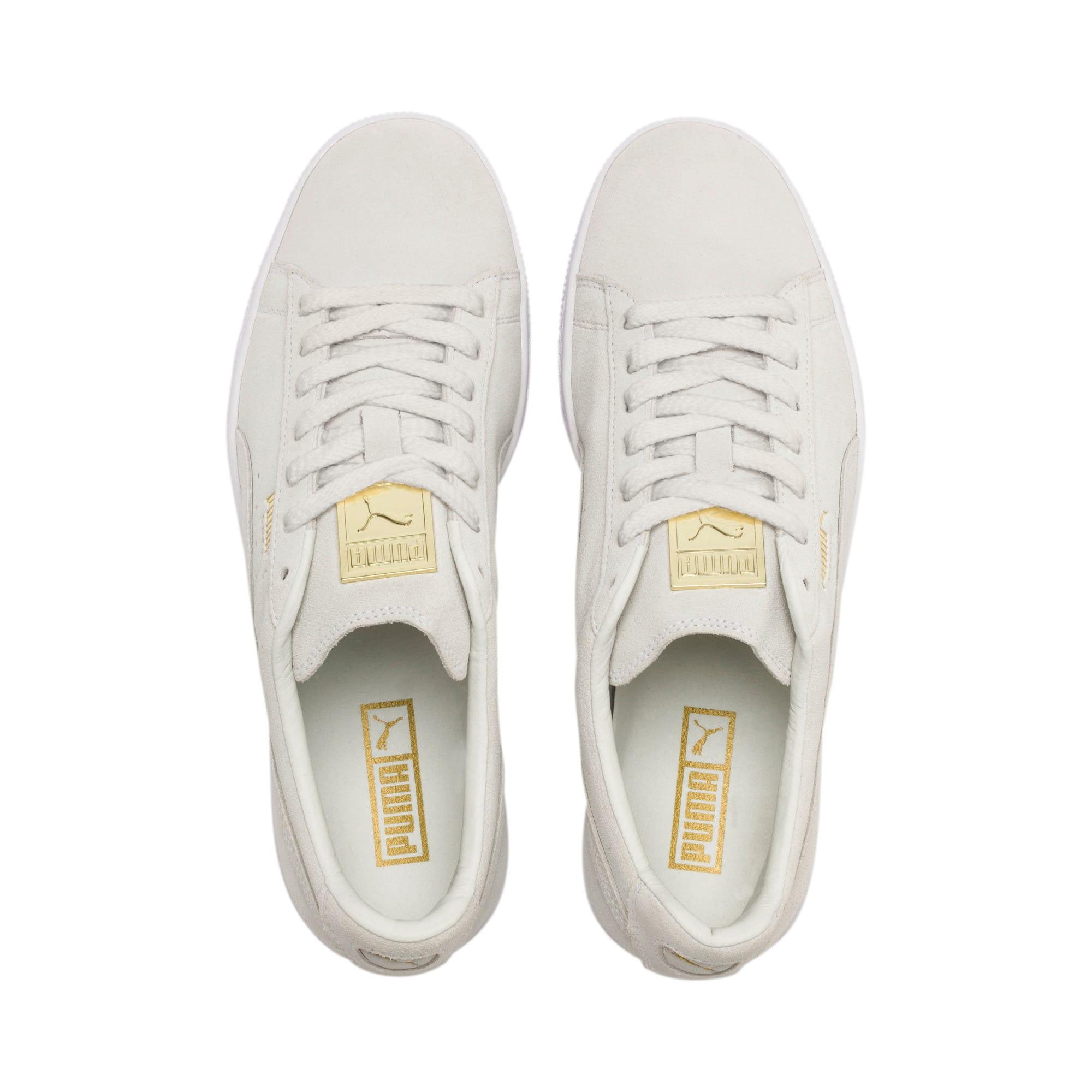 Thumbnail 7 of Suede Classic Metal Badge Sneakers, Puma White-White-Team Gold, medium