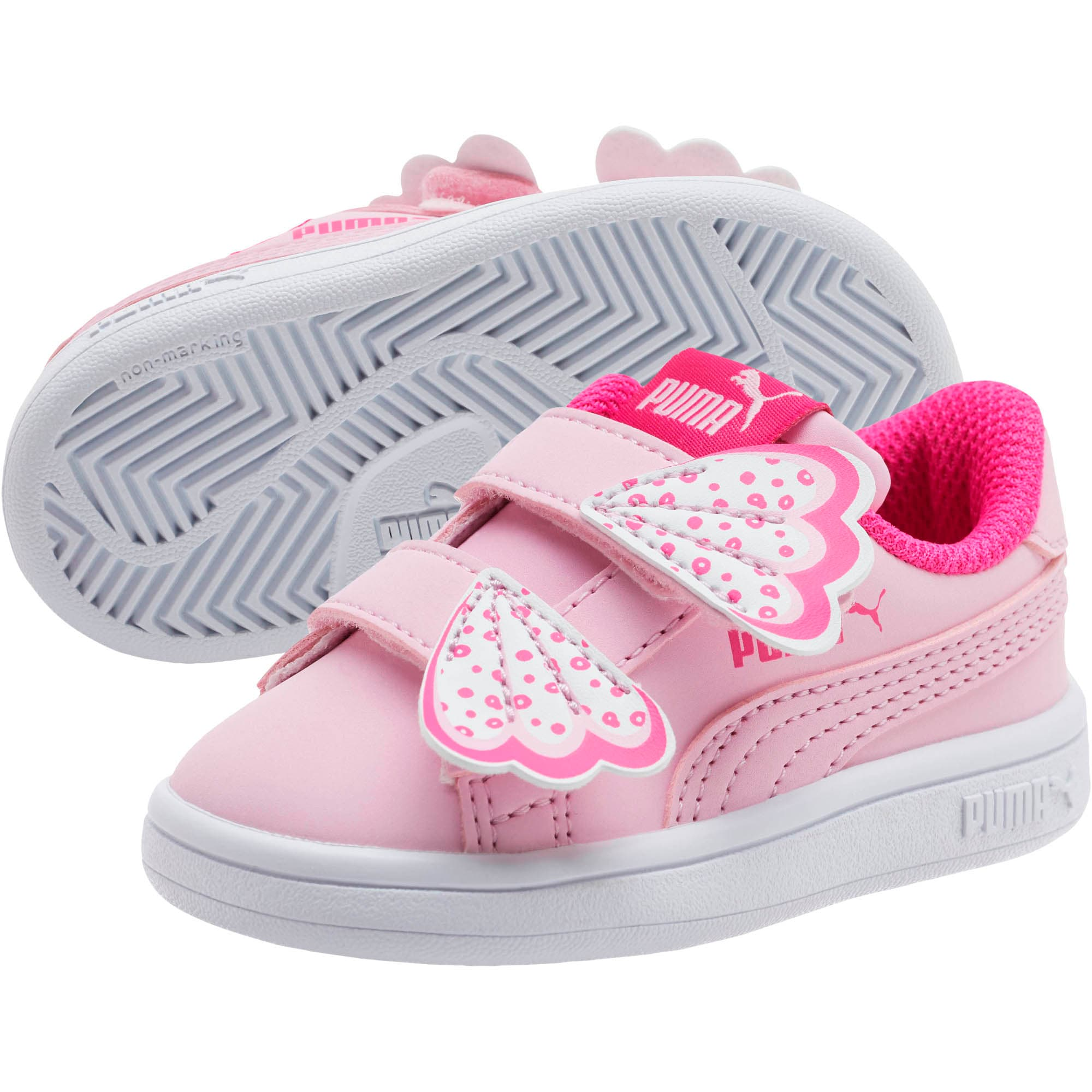 Thumbnail 2 of PUMA Smash v2 Butterfly AC Toddler Shoes, Pale Pink-F Purple-White, medium